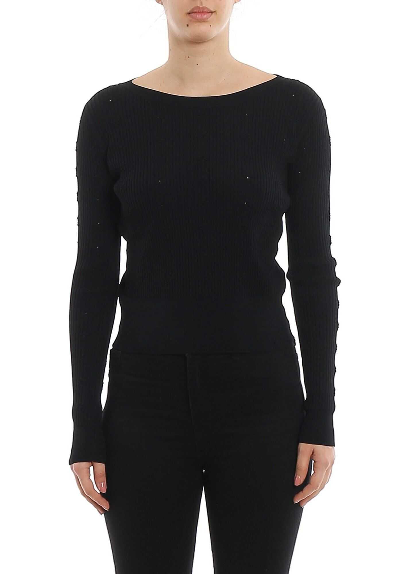 Patrizia Pepe Ribbed Sweater With Rhinestones In Black Black