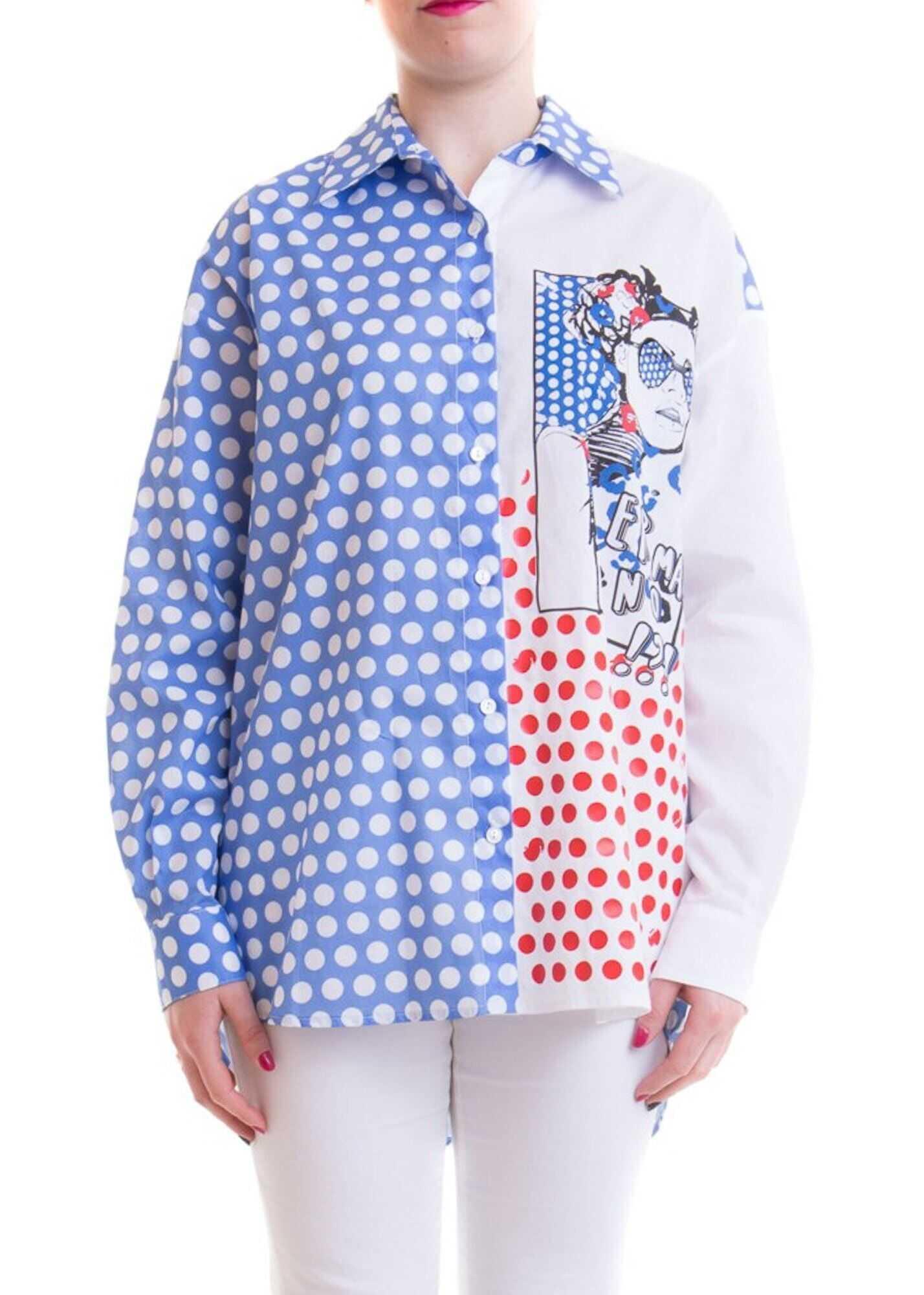 Ermanno Scervino Pop Print Cotton Shirt In Light Blue Light Blue