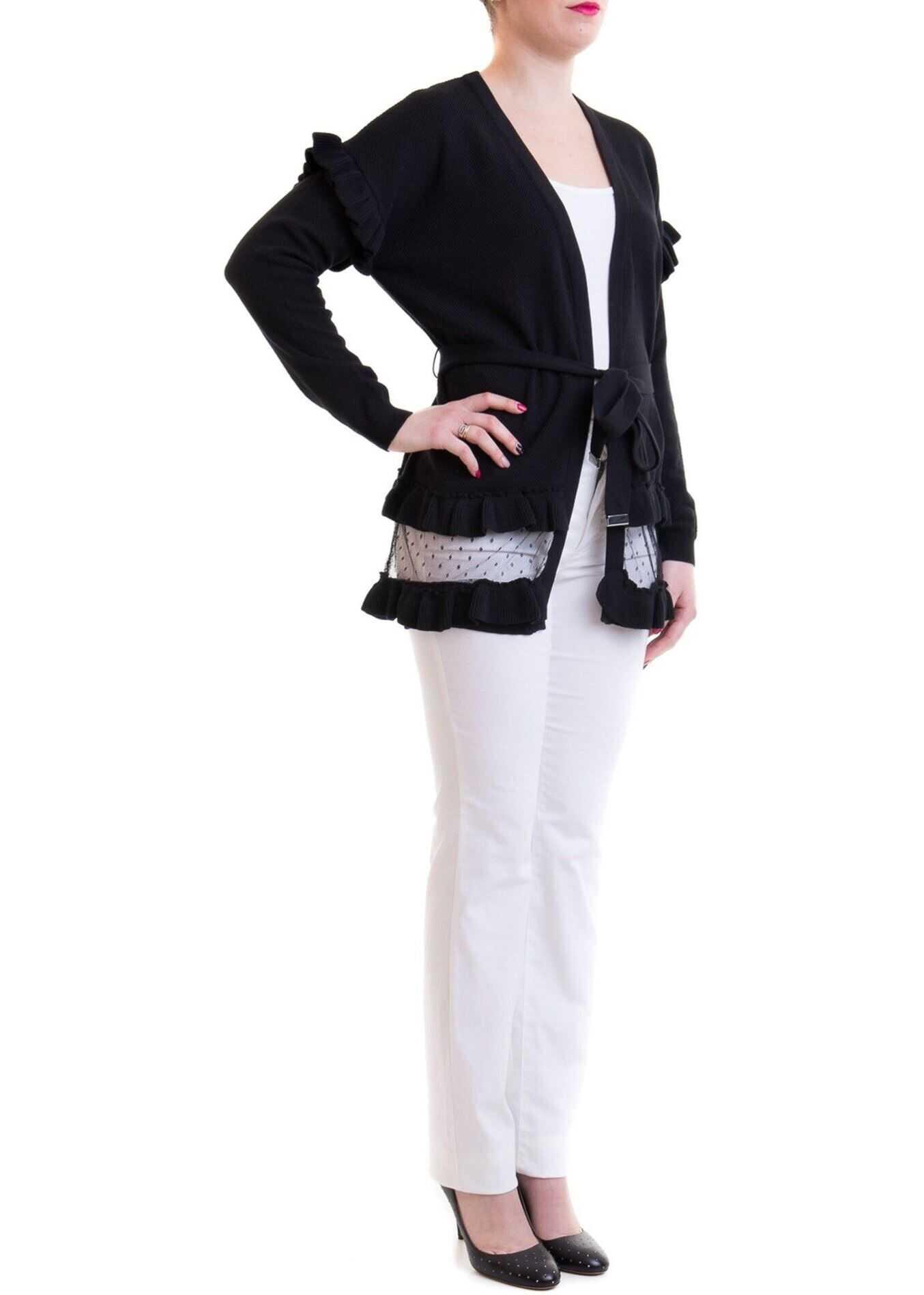 Be Blumarine Polka Dot Tulle Bottom Cardigan In Black Black