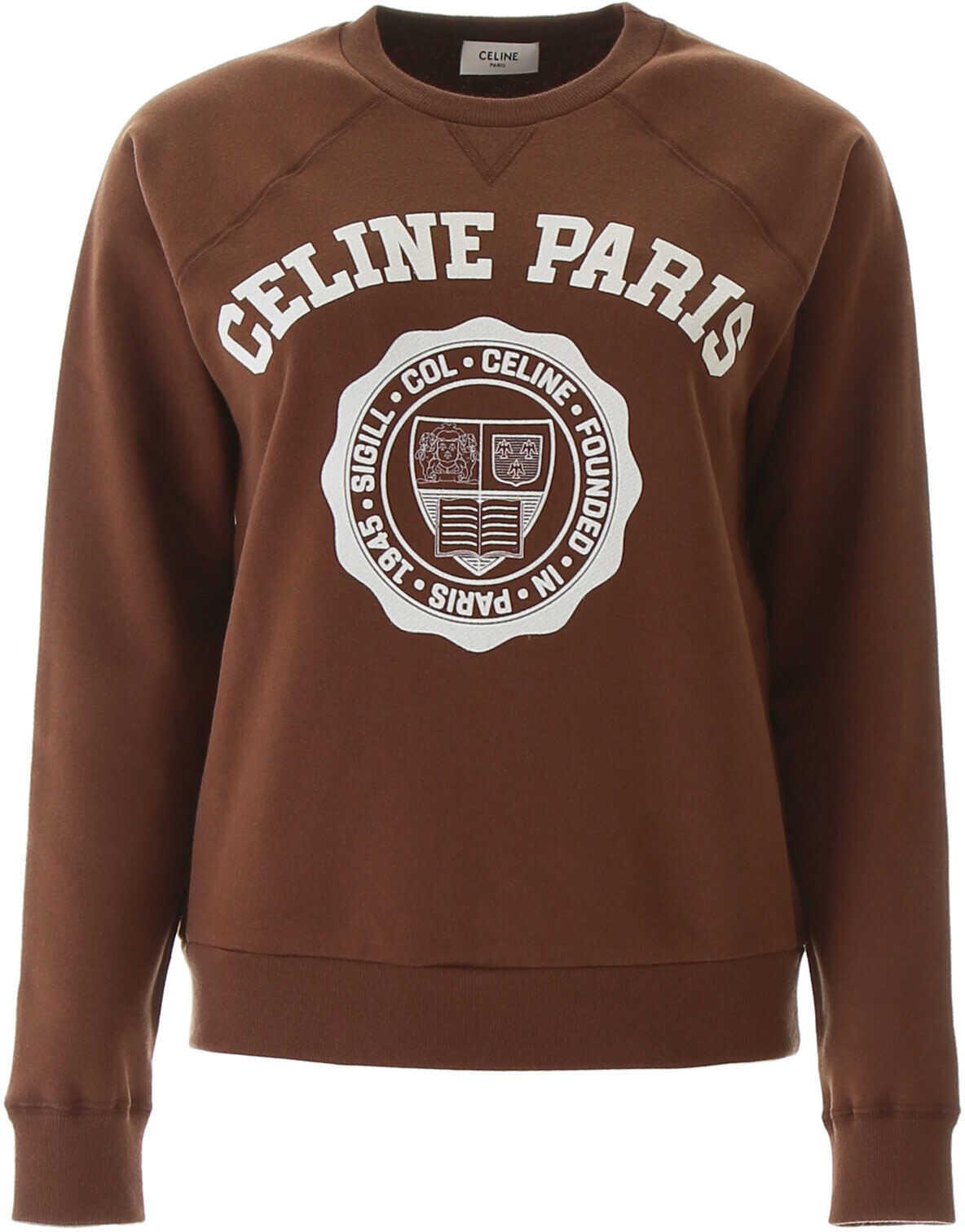 Céline University Sweatshirt BROWN OFF WHITE