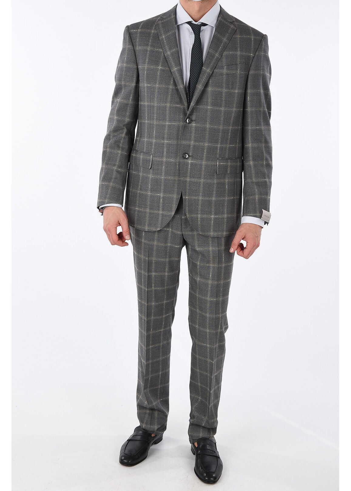 virgin wool check ACADEMY suit