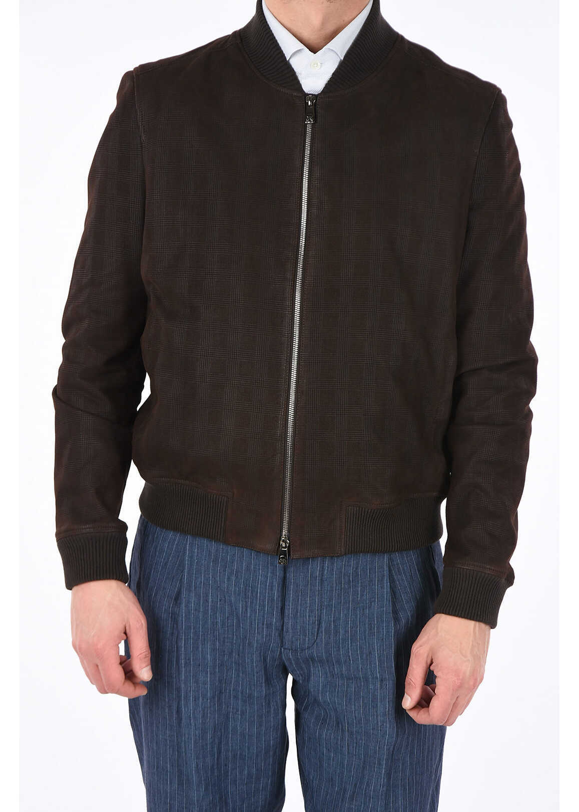 CORNELIANI ID suede leather checked bomber BROWN