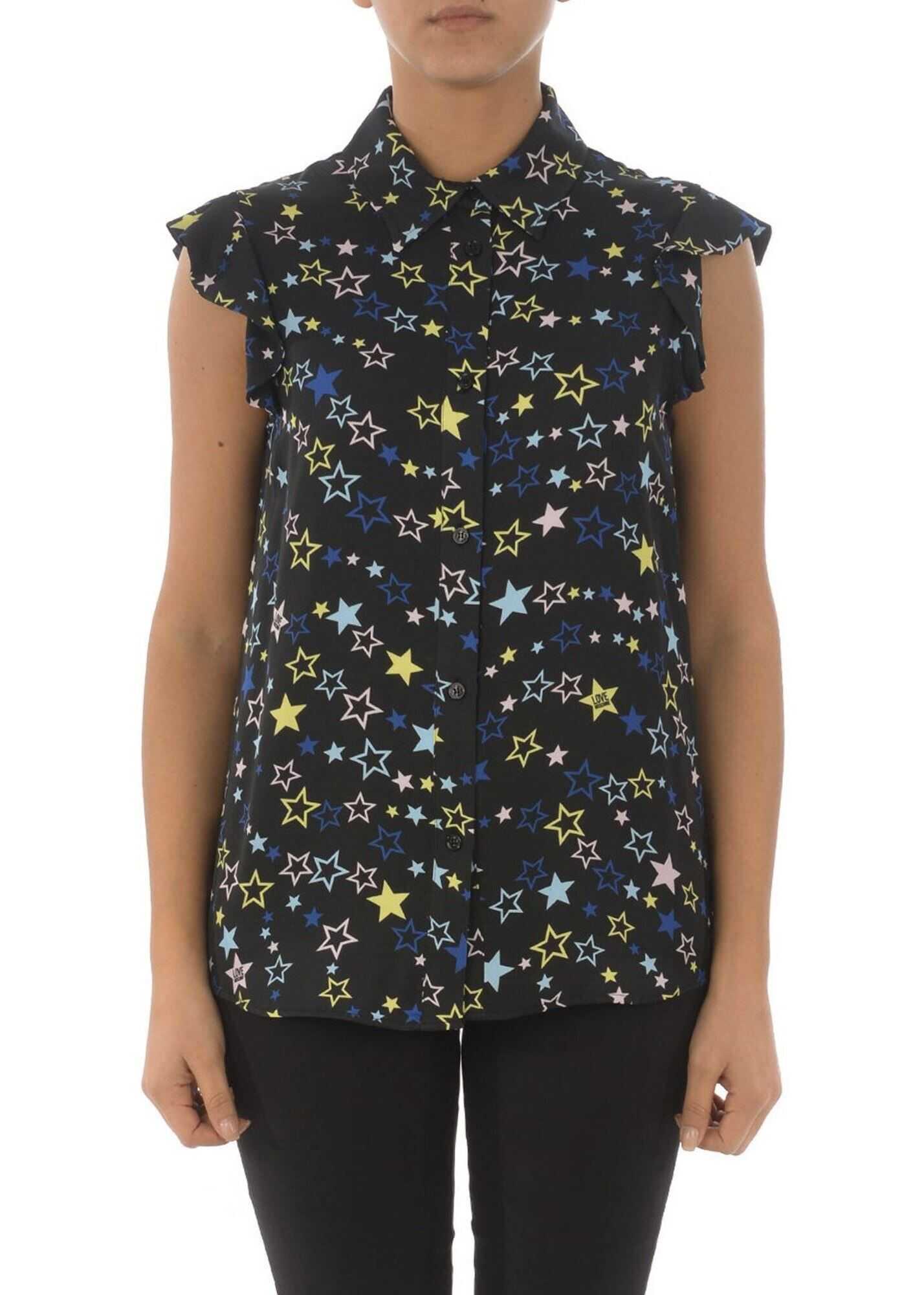 LOVE Moschino Star Print Viscose Shirt Black