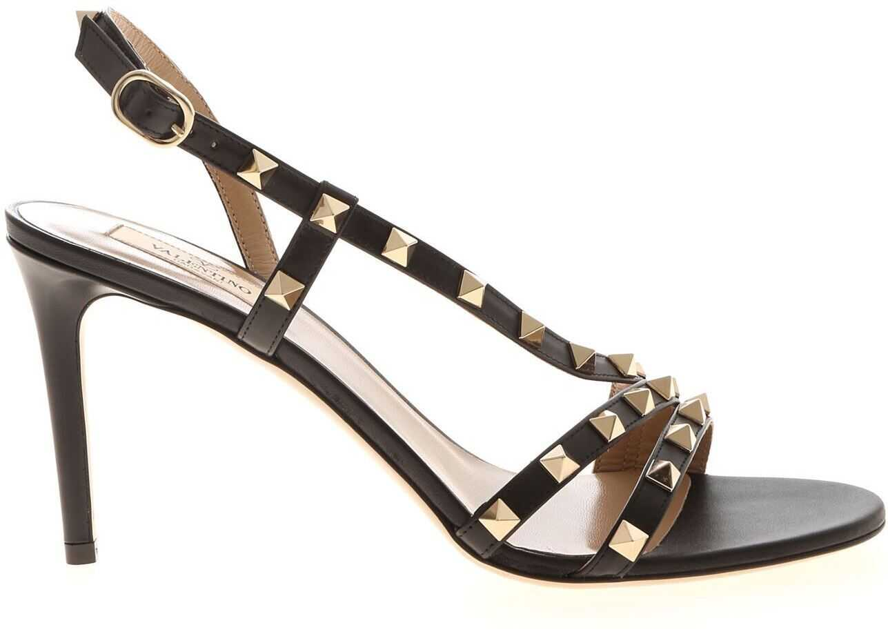 Valentino Garavani Rockstuds Sandals In Black TW0S0X44 VOD 0NO Black imagine b-mall.ro