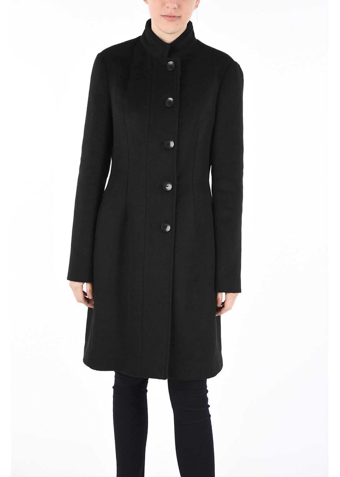 Armani ARMANI JEANS Wool Blend Coat BLACK
