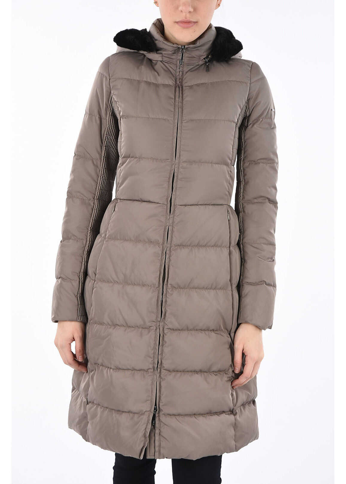 Armani ARMANI JEANS Hooded Long Down Padded Jacket BROWN