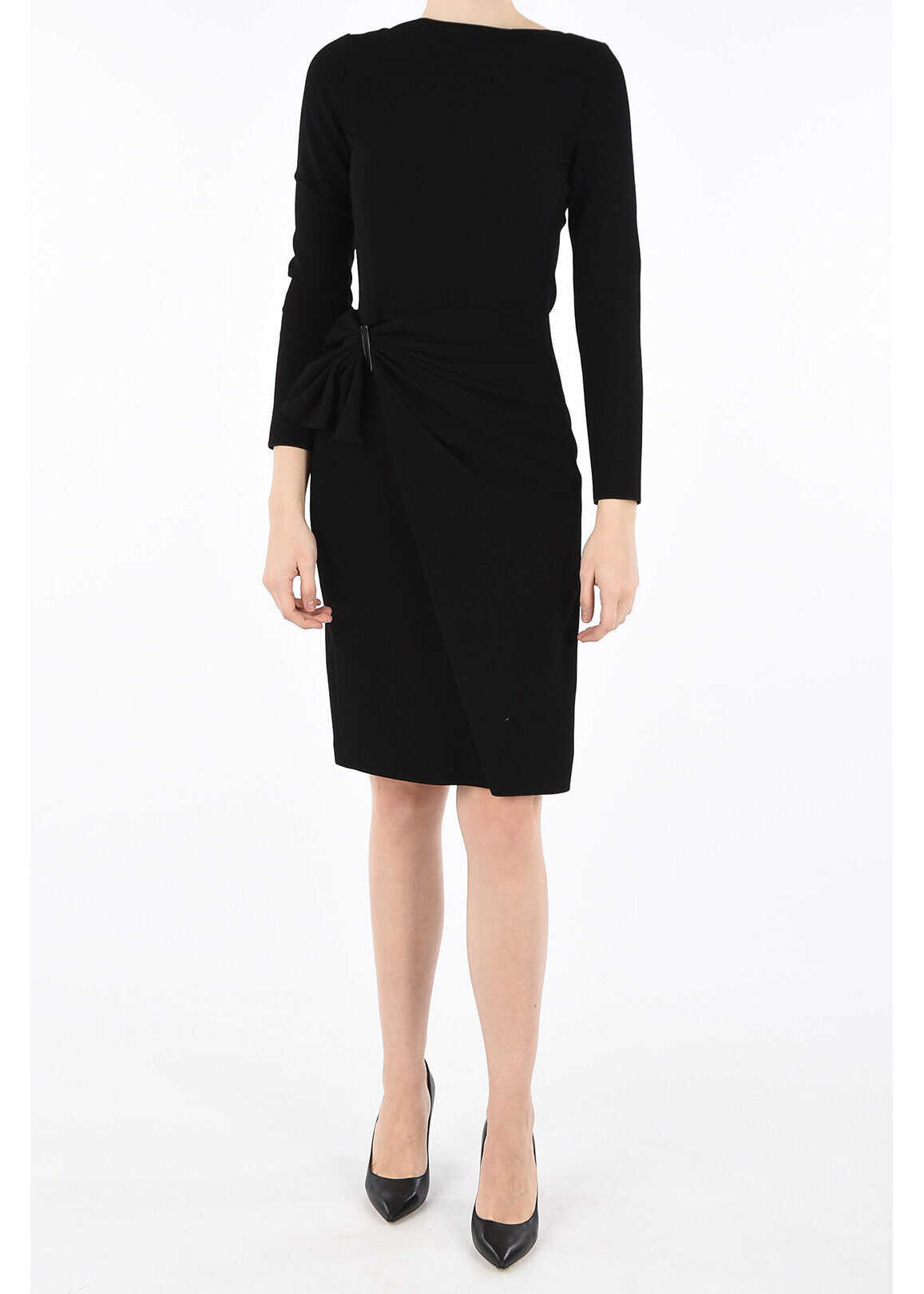Armani COLLEZIONI Long Sleeves Wrap Dress BLACK