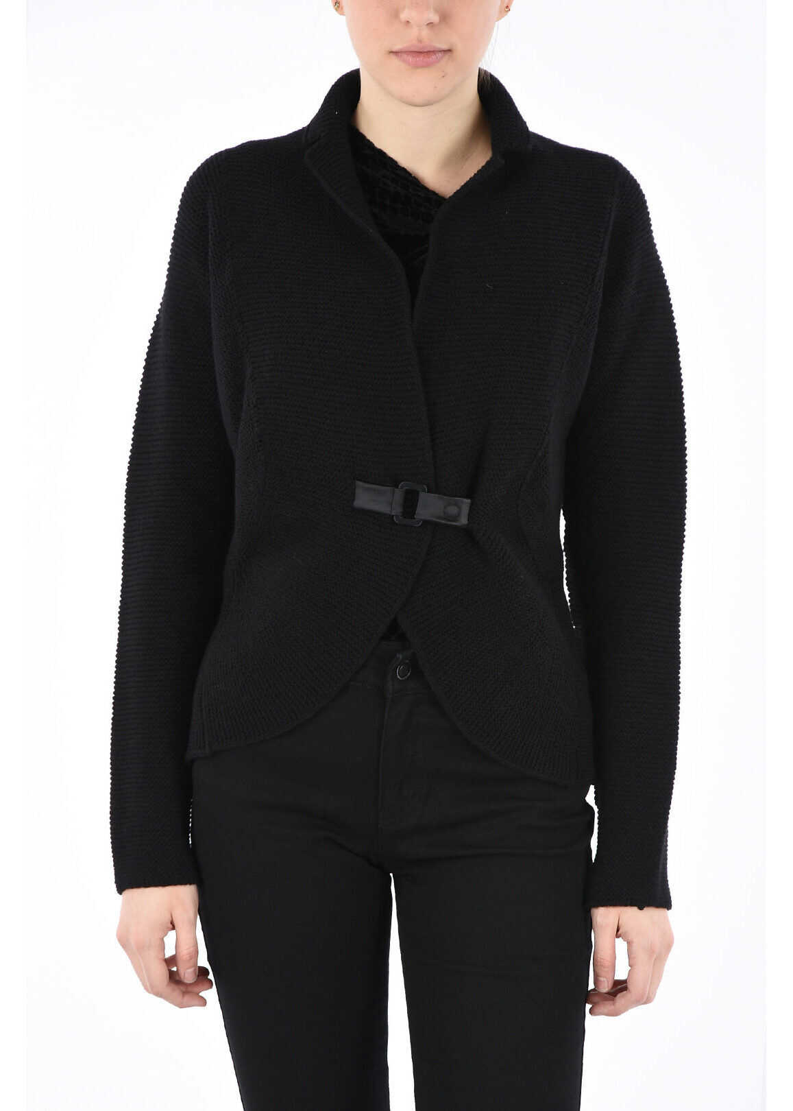 Armani COLLEZIONI Wool and Cashmere Cardigan BLACK