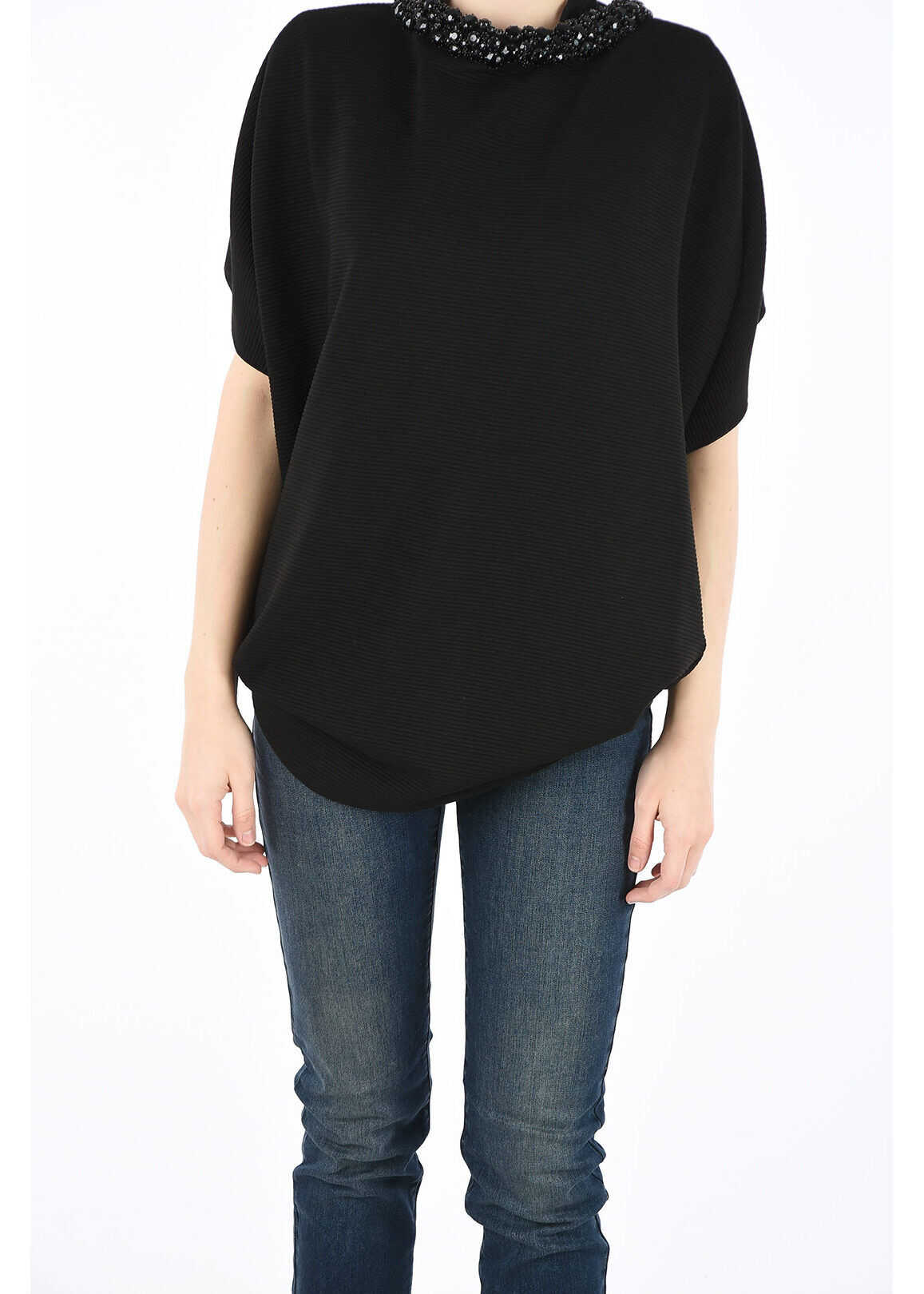 Armani COLLEZIONI Top with Jewel Details BLACK