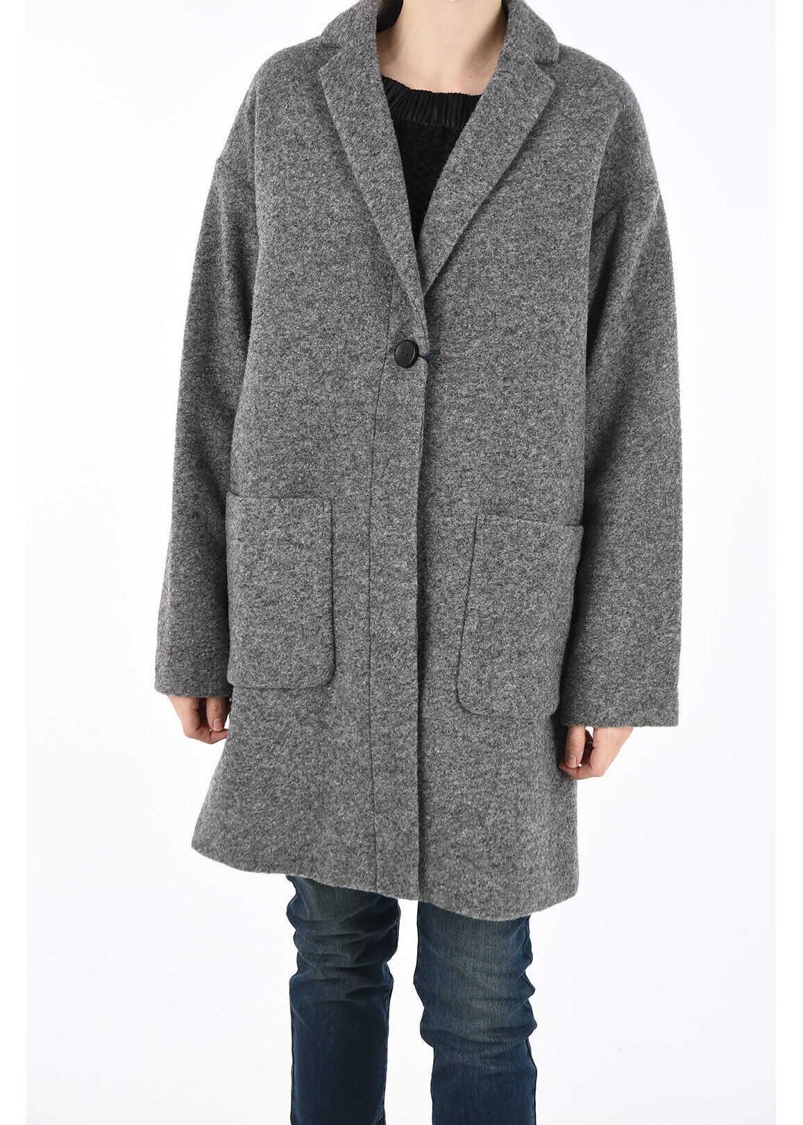 Armani ARMANI JEANS Wool Blend Single Breasted Coat GRAY