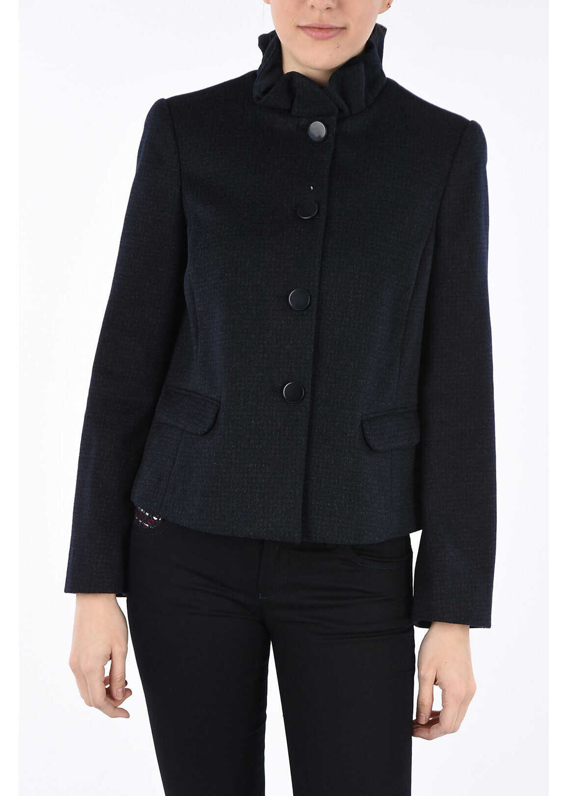 Armani COLLEZIONI Wool and Silk Blazer BLUE