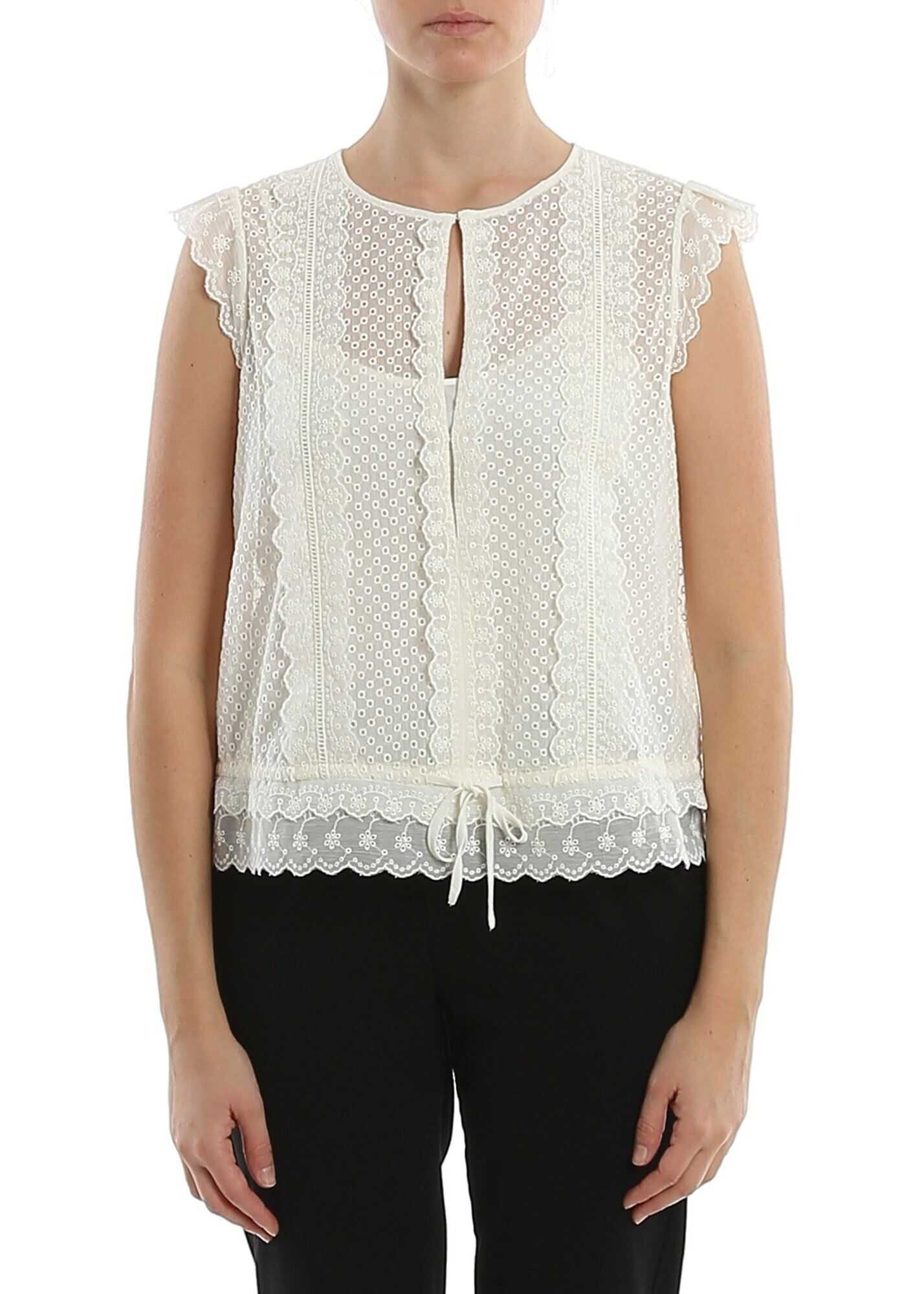 Twin-set Simona Barbieri Crepe And Broderie Anglaise Top In Color Cream Cream