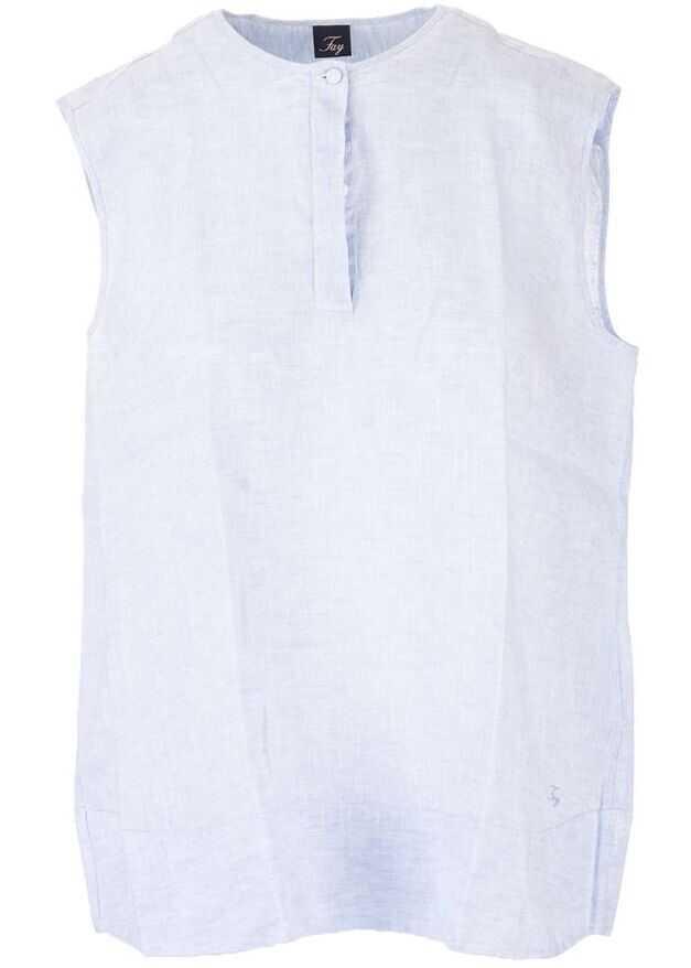 Fay Linen Polo Shirt LIGHT BLUE