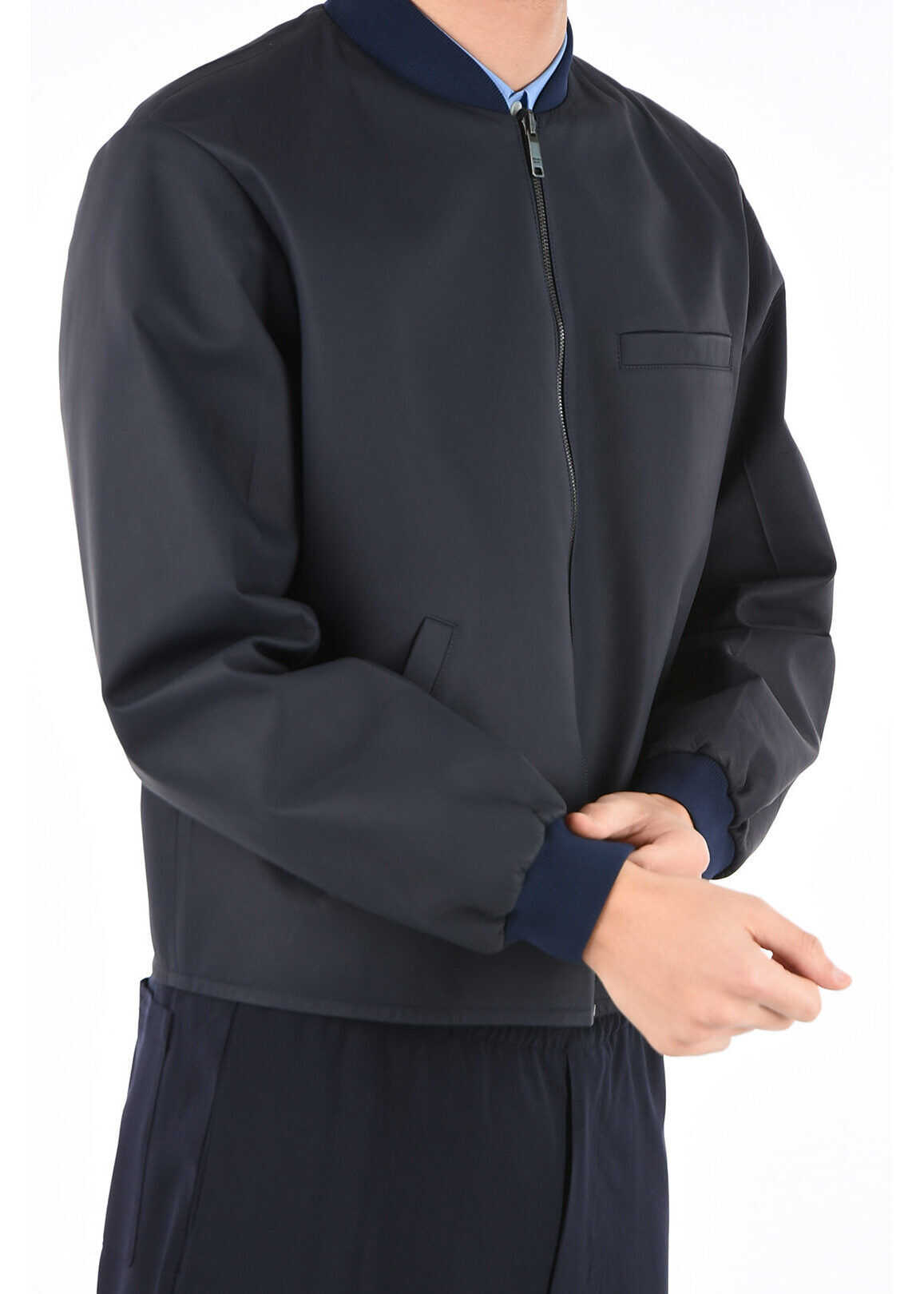 Prada nappa leather reversible jacket BLUE