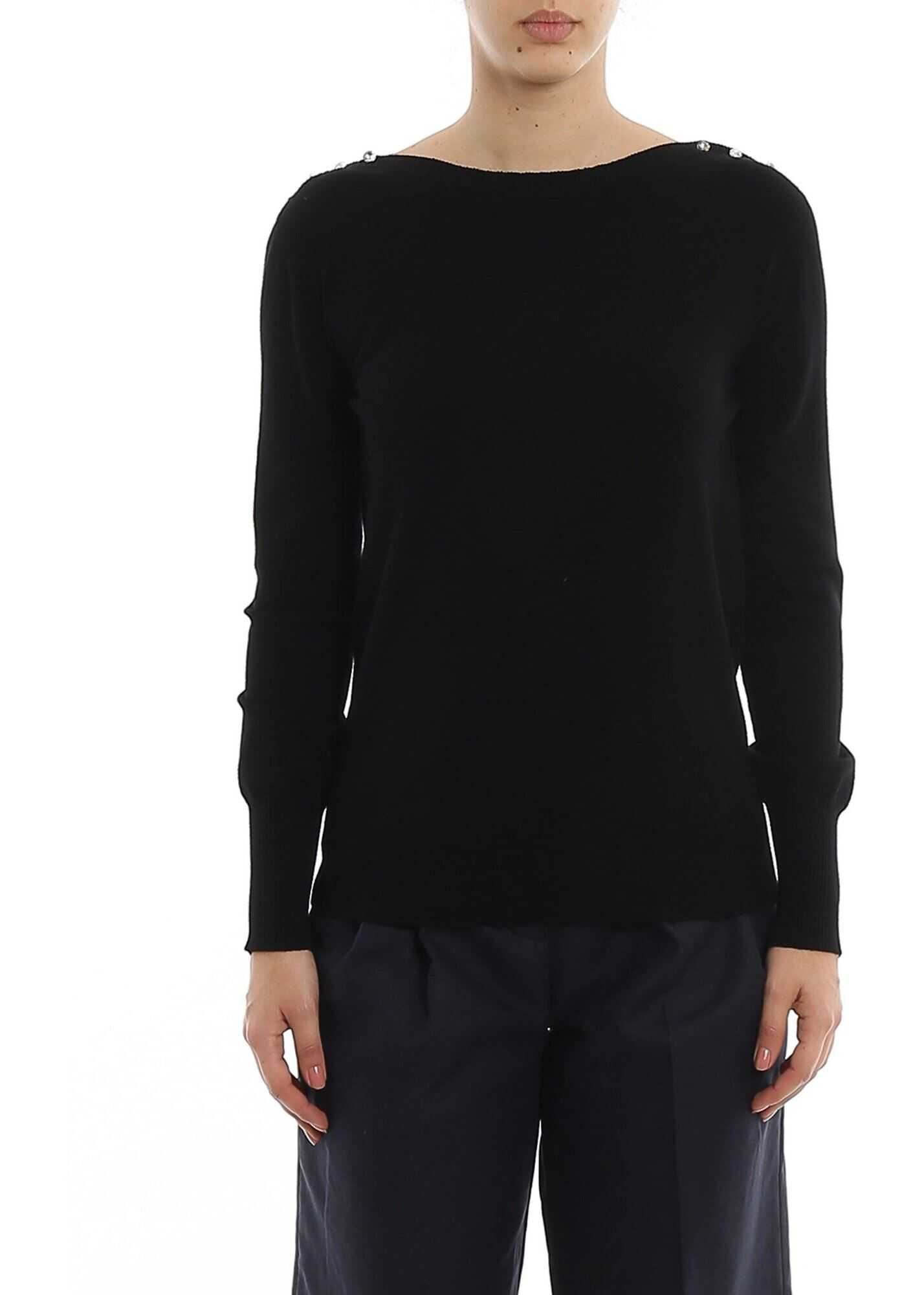 Twin-set Simona Barbieri Rhinestones Button Sweater In Black Black