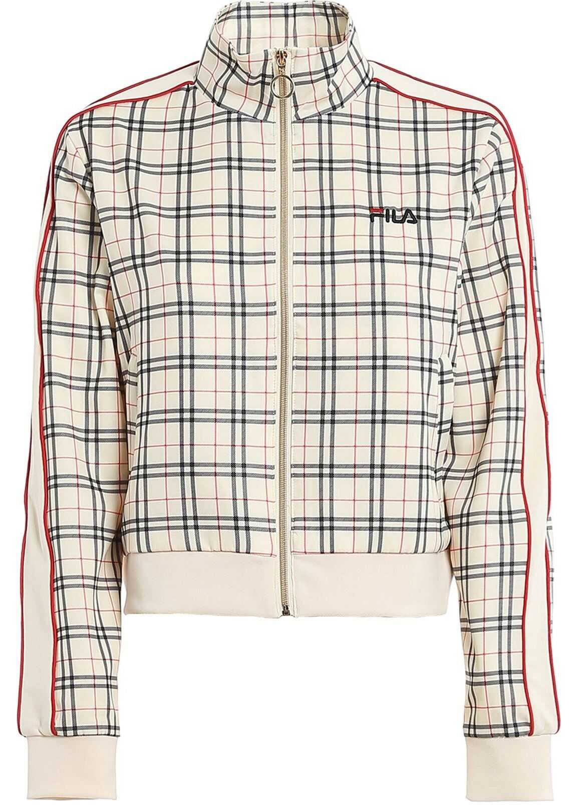 Fila Tevy Aop Tartan Jacket In Cream Color Cream