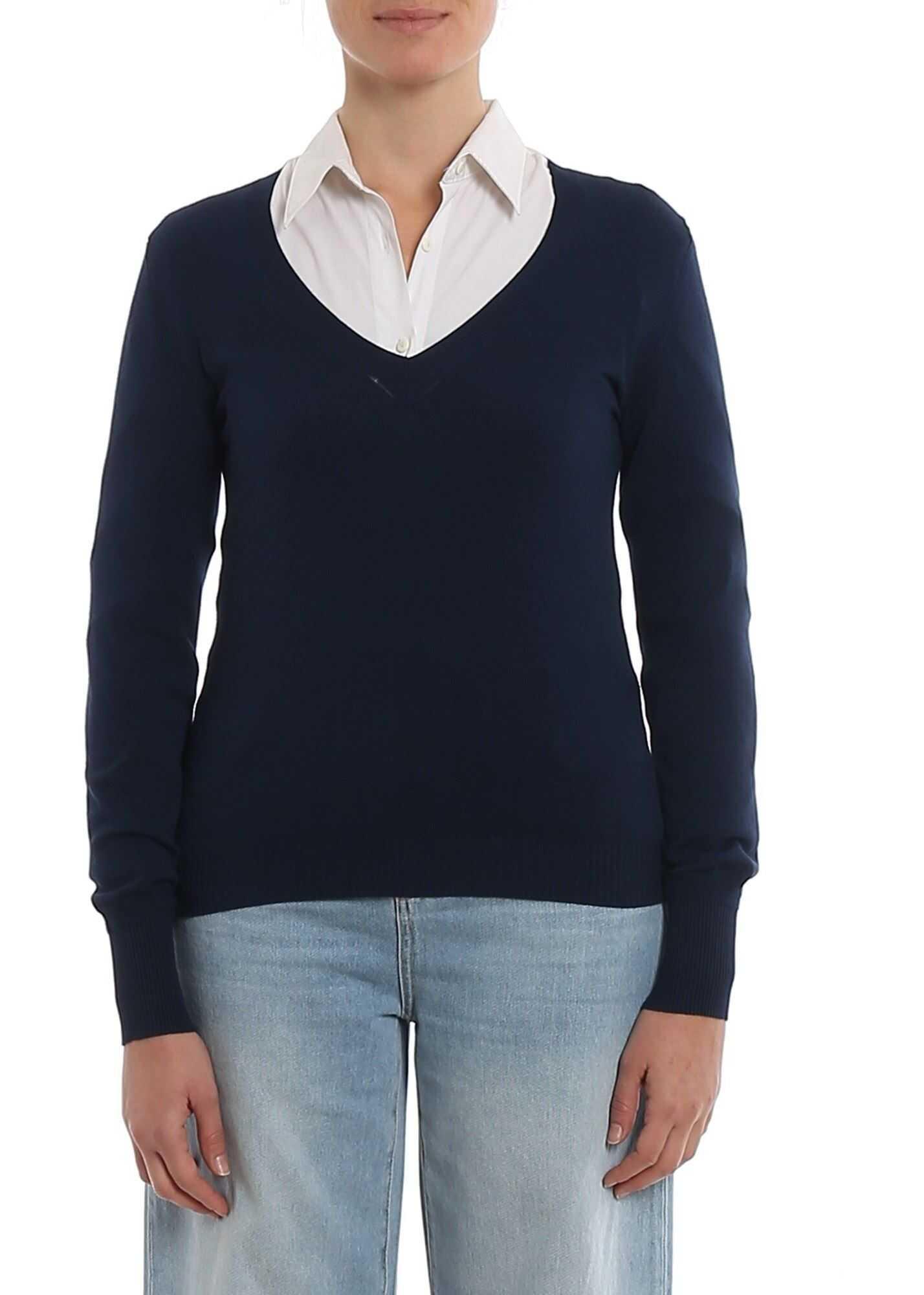 Twin-set Simona Barbieri V-Neck Sweater In Blue Blue