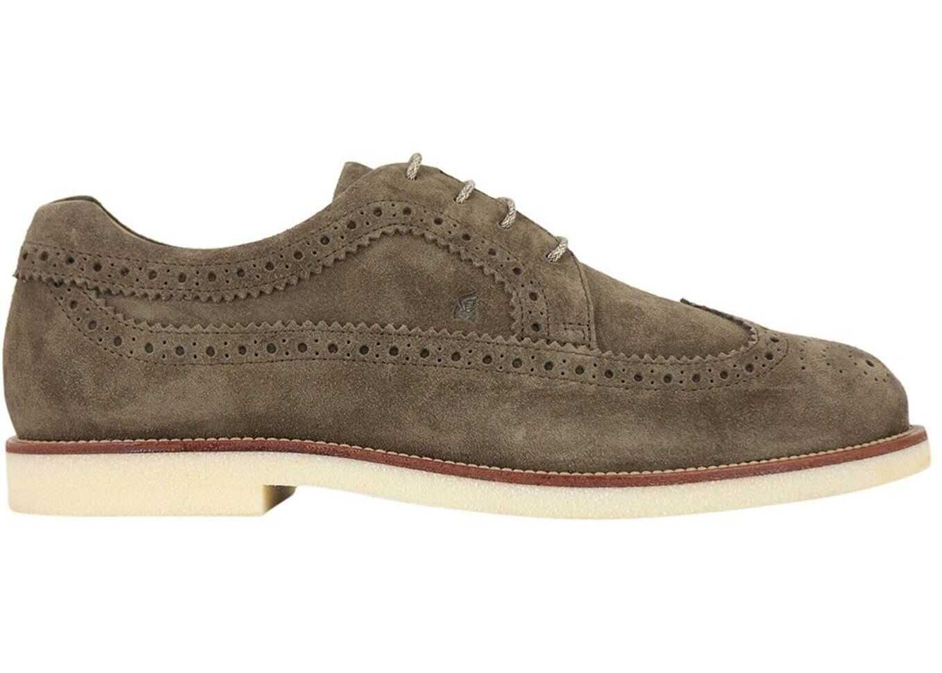 Hogan Suede Derby Shoes In Brown HXM4560BO00HG0S413 Brown imagine b-mall.ro