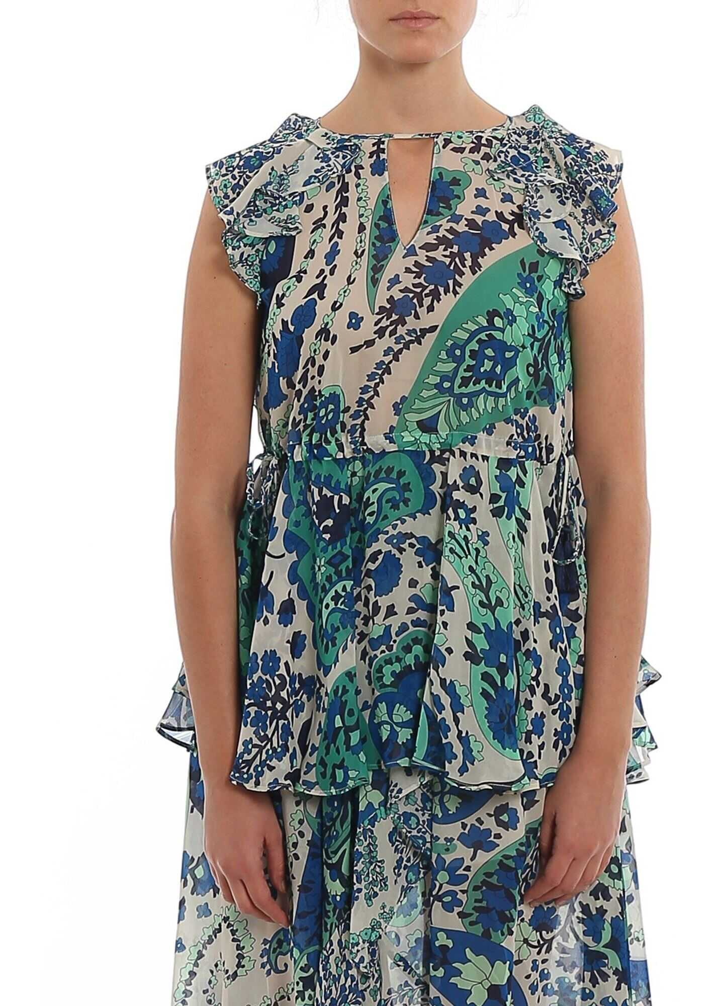 Twin-set Simona Barbieri Paisley Print Top In Blue Blue