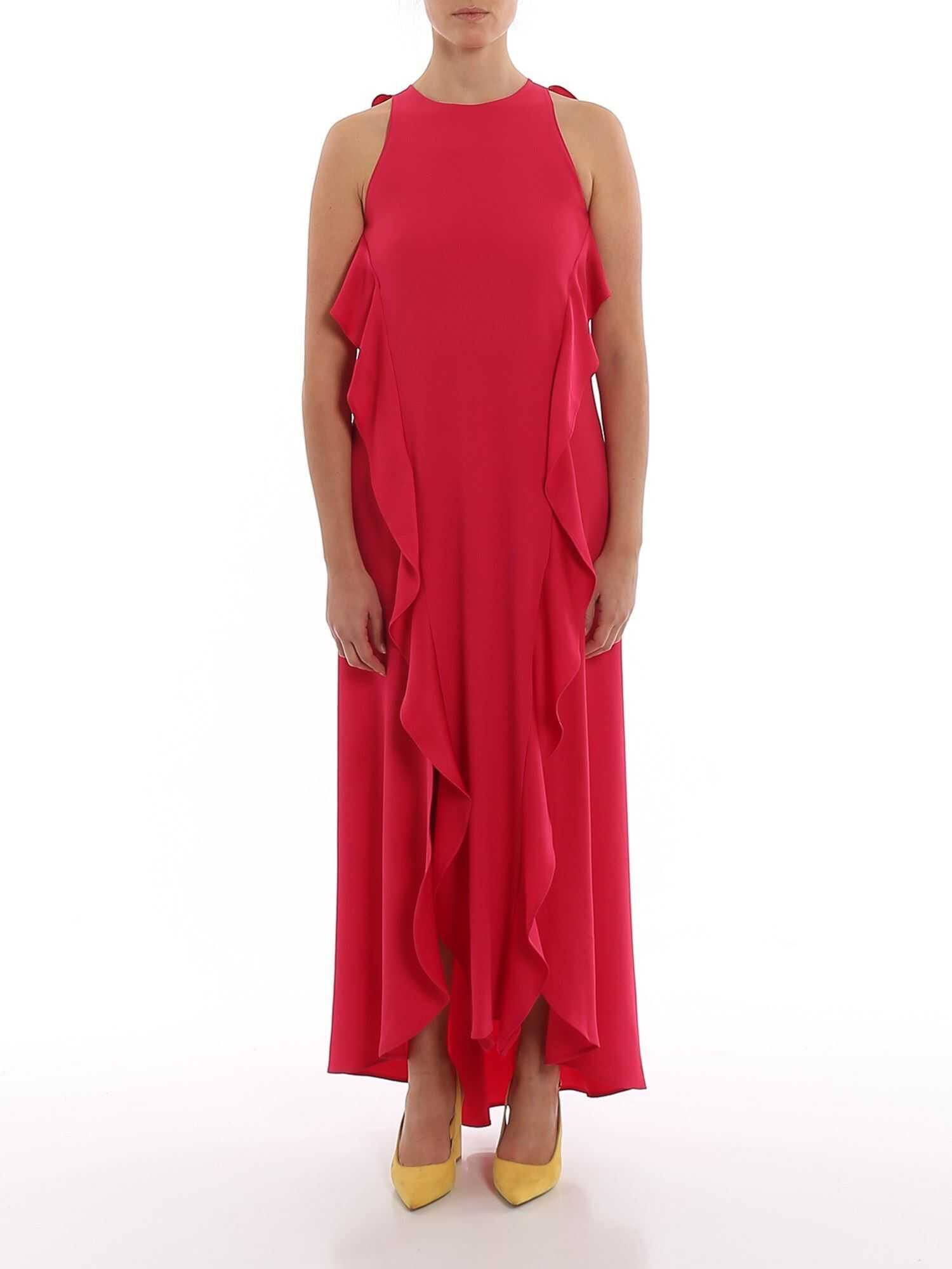 Twin-set Simona Barbieri Ruffled Crepe Envers Satin Dress In Fuchsia Fuchsia