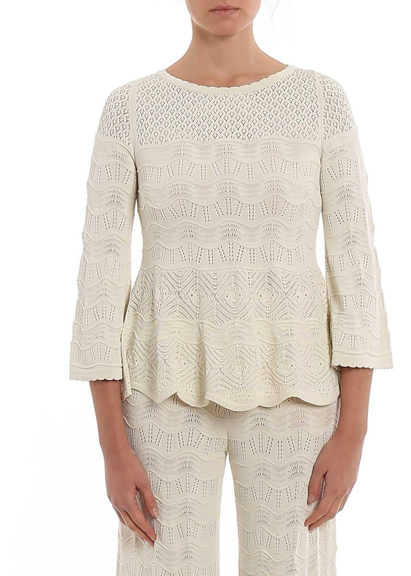 Twin-set Simona Barbieri Lace Effect Sweater In White White