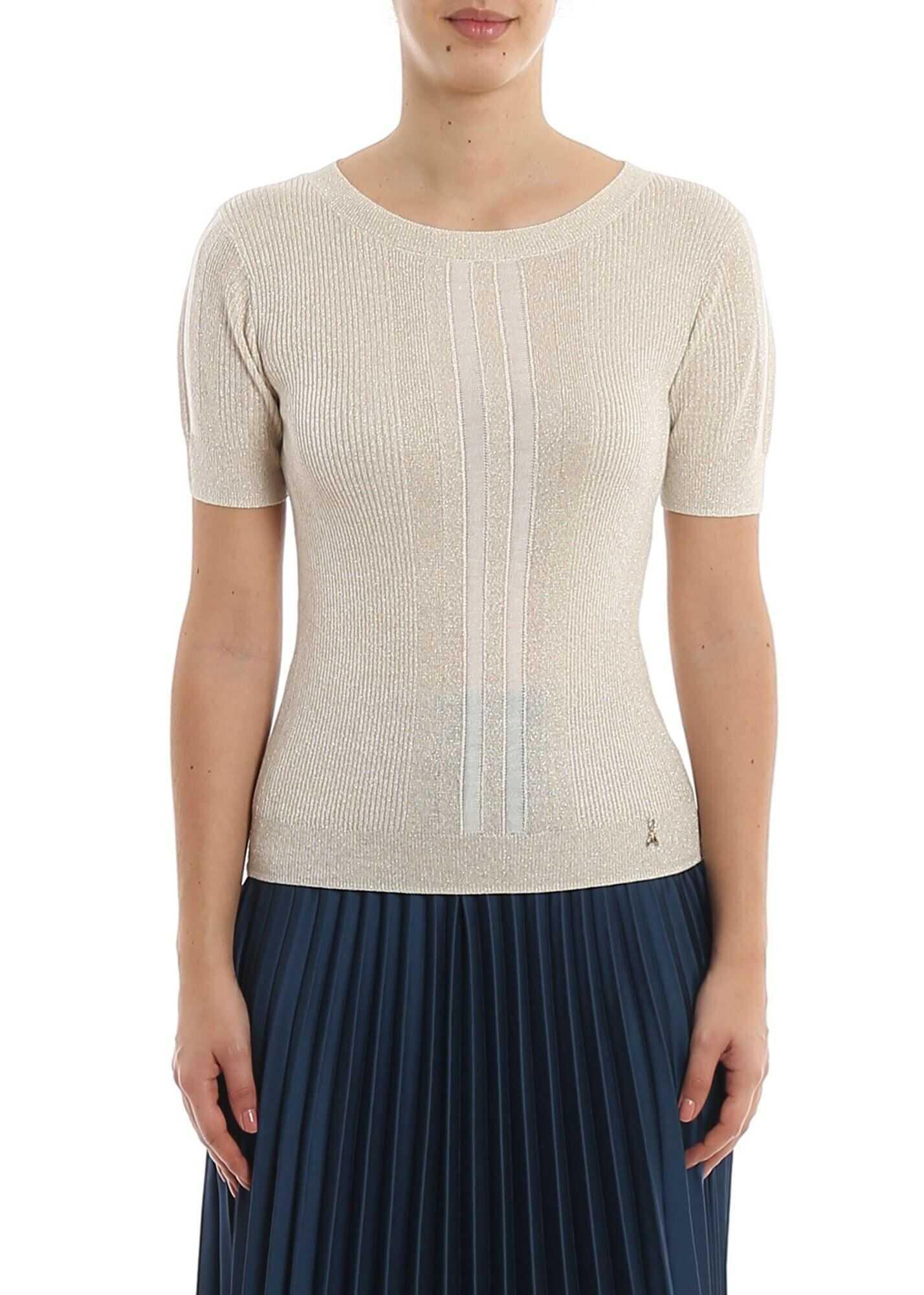 Patrizia Pepe Short Sleeved Sweater In Cream Color Cream