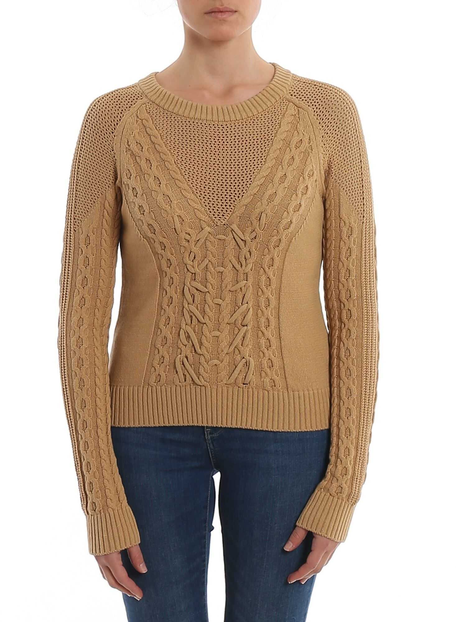 Patrizia Pepe Woven Knitted Crew Neck Sweater Brown