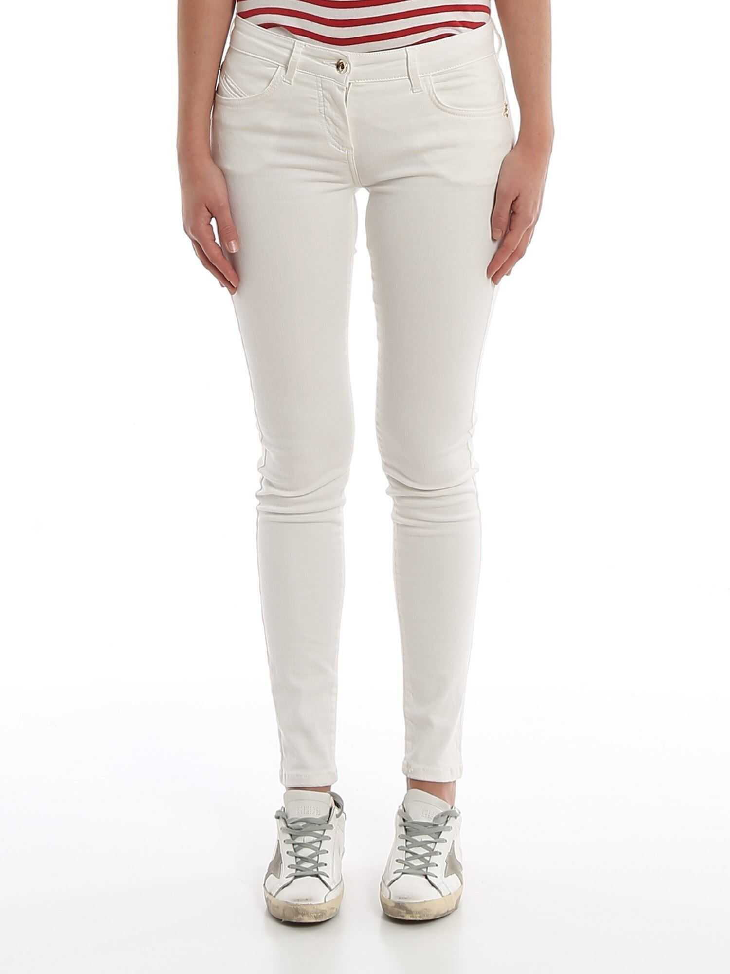 Patrizia Pepe Jeggings With Embroidered Pocket In White White