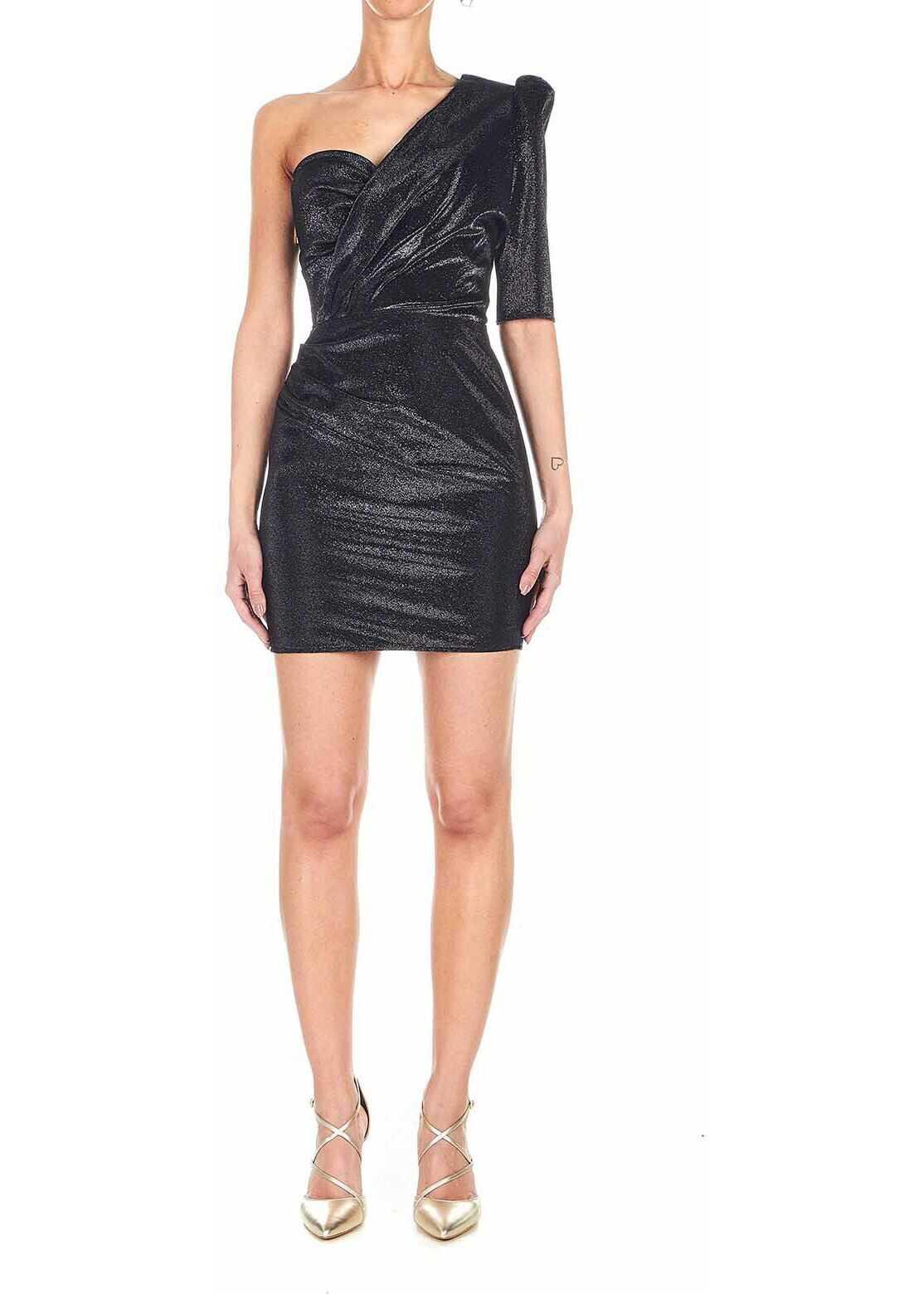 Elisabetta Franchi Mini dress with glitter finish Black