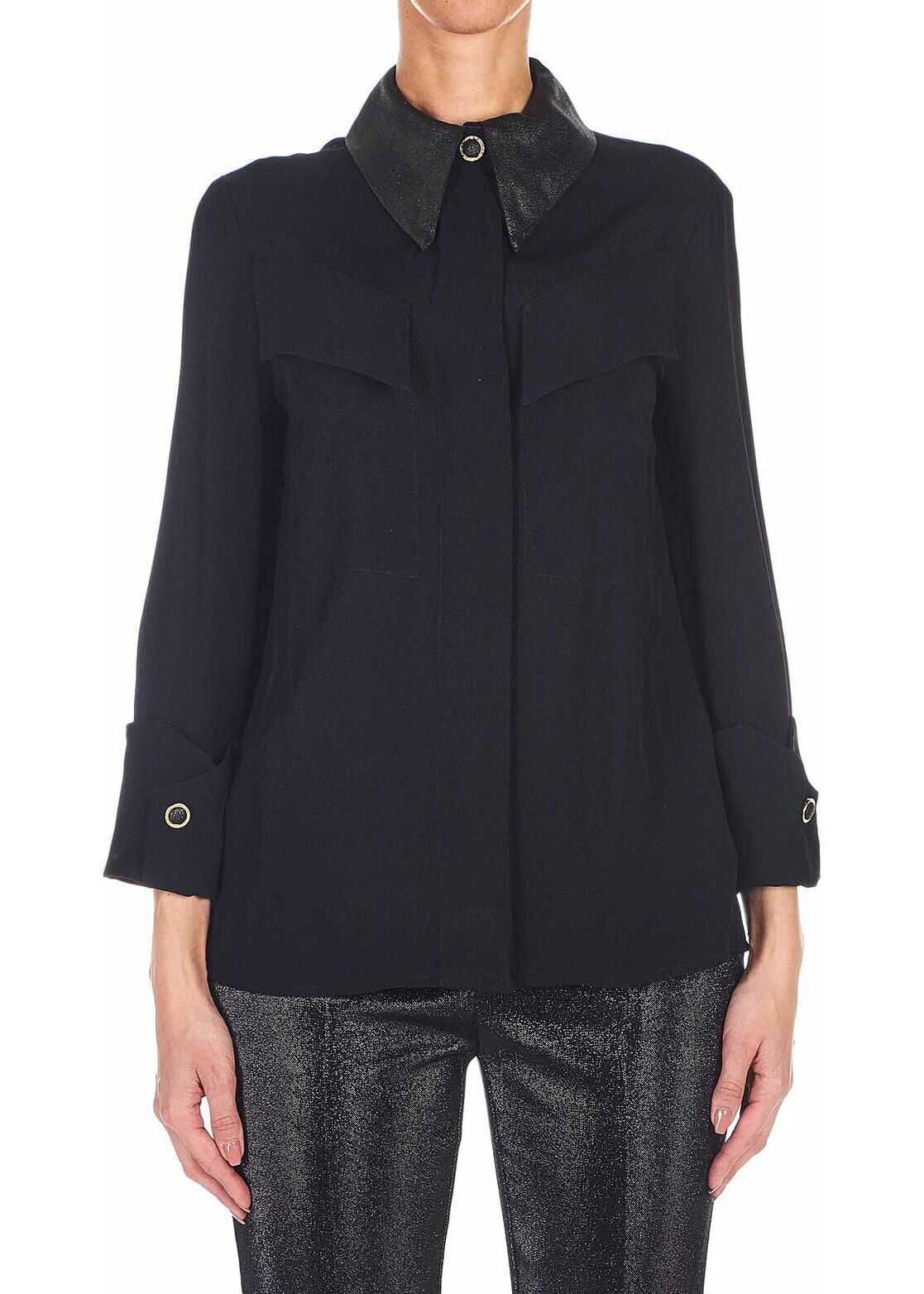 Elisabetta Franchi Blouse with glitter collar Black
