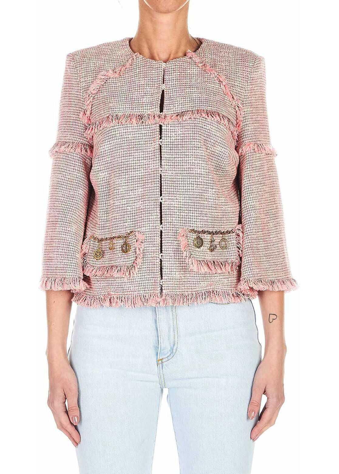 Elisabetta Franchi Short jacket with fringes Pink