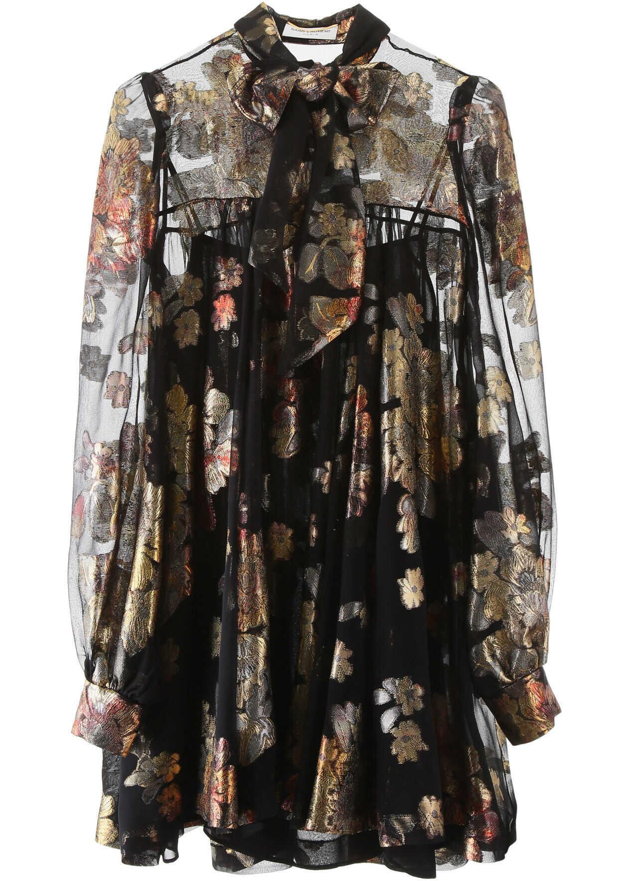 Saint Laurent Devore' Silk Mini Dress NOIR OR