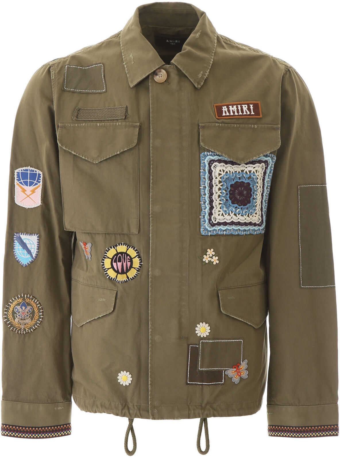 AMIRI Parka With Patches And Embroideries MILITARY GREEN imagine