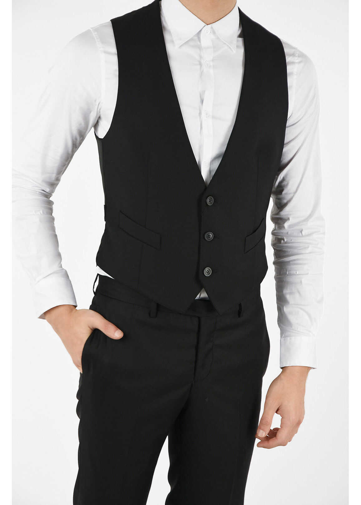 Armani EMPORIO Virgin Wool Vest BLACK imagine