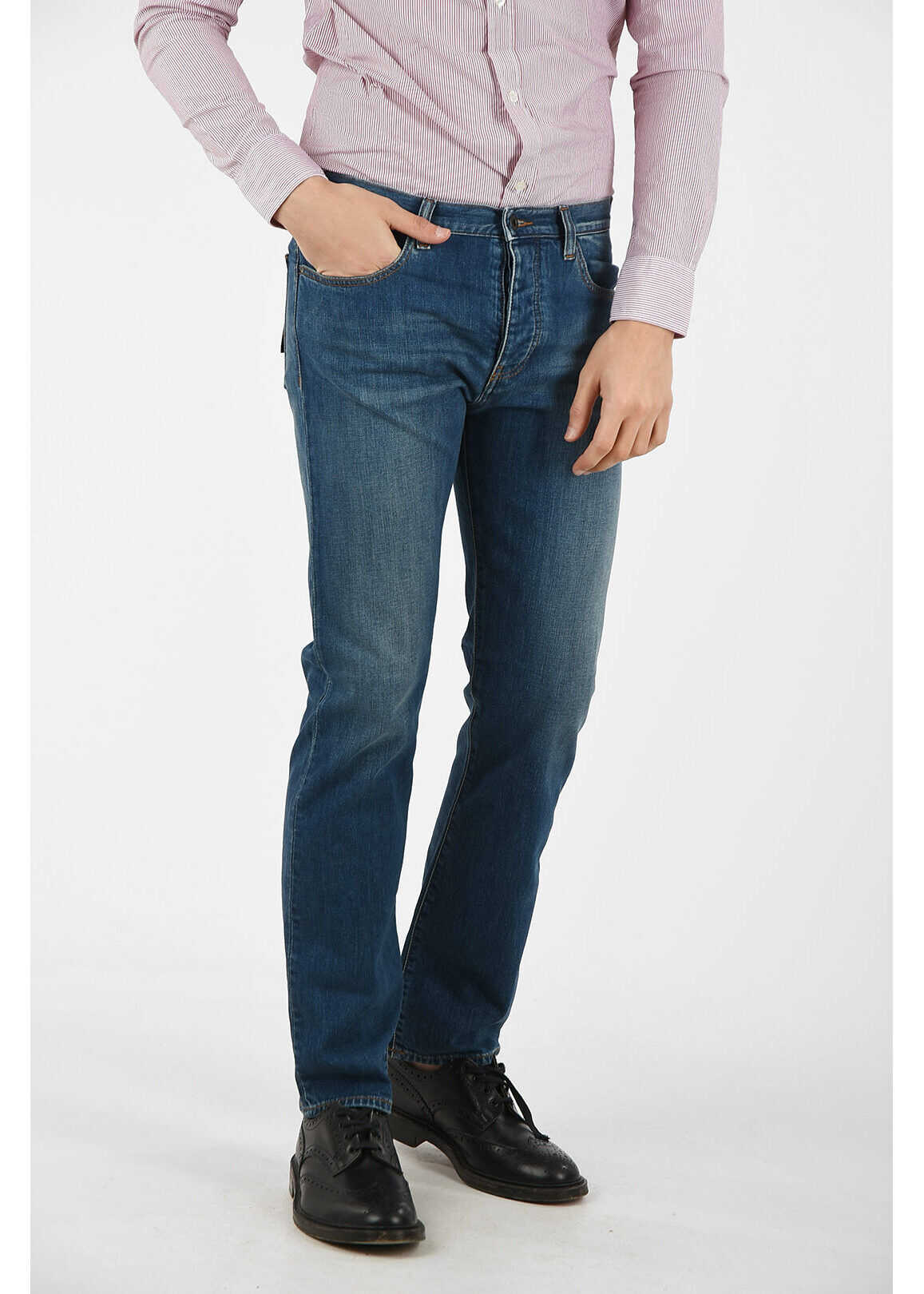 Armani ARMANI JEANS 20cm Stretch Denim Jeans BLUE