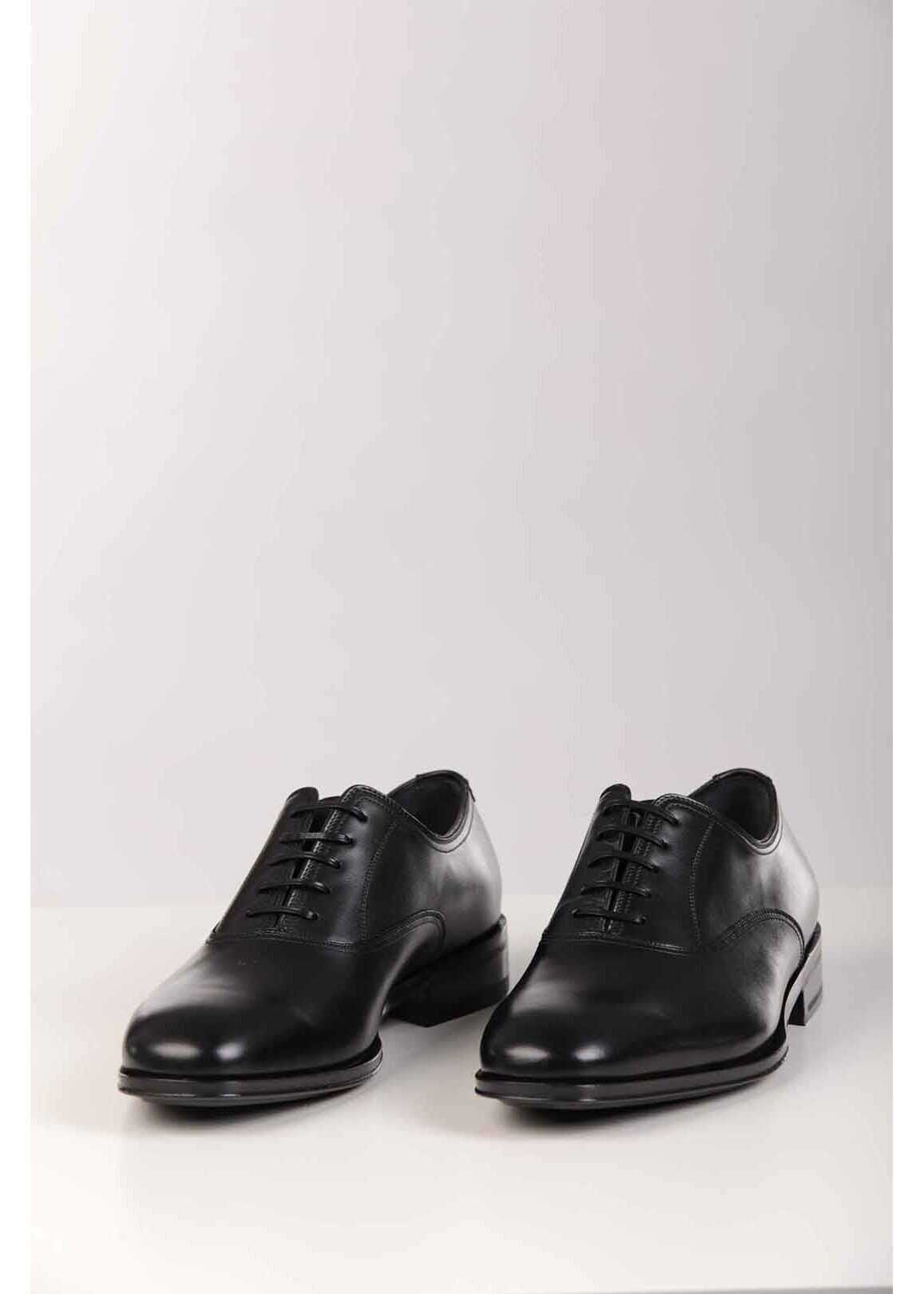 Salvatore Ferragamo Brushed Leather ALFREDO Oxford Shoes BLACK