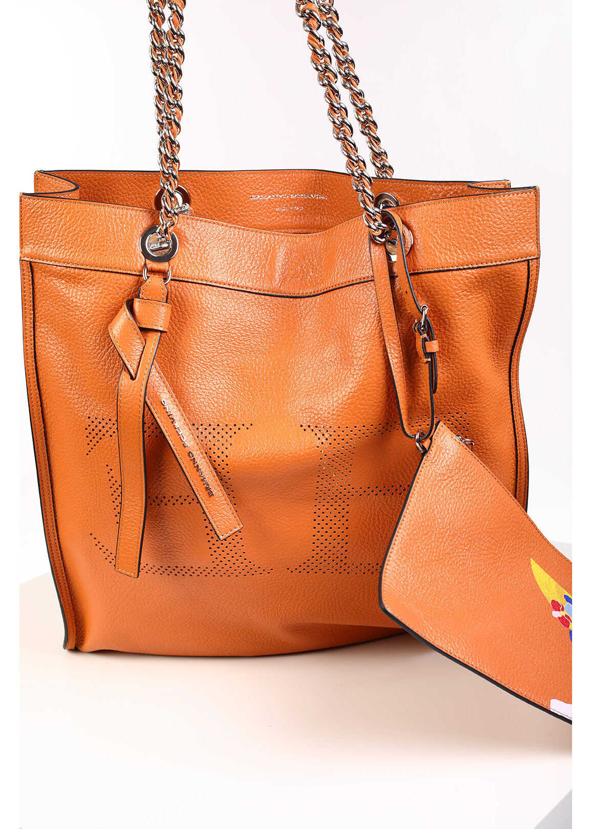 Ermanno Scervino Leather Maxi Tote Bag with Logo BROWN