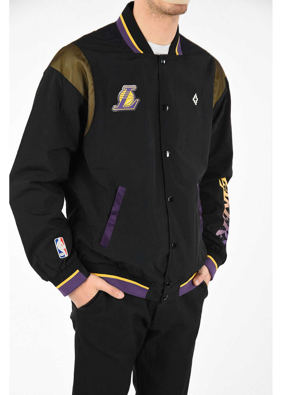 Marcelo Burlon NBA Snap Button LA LAKERS Varsity Jacket BLACK