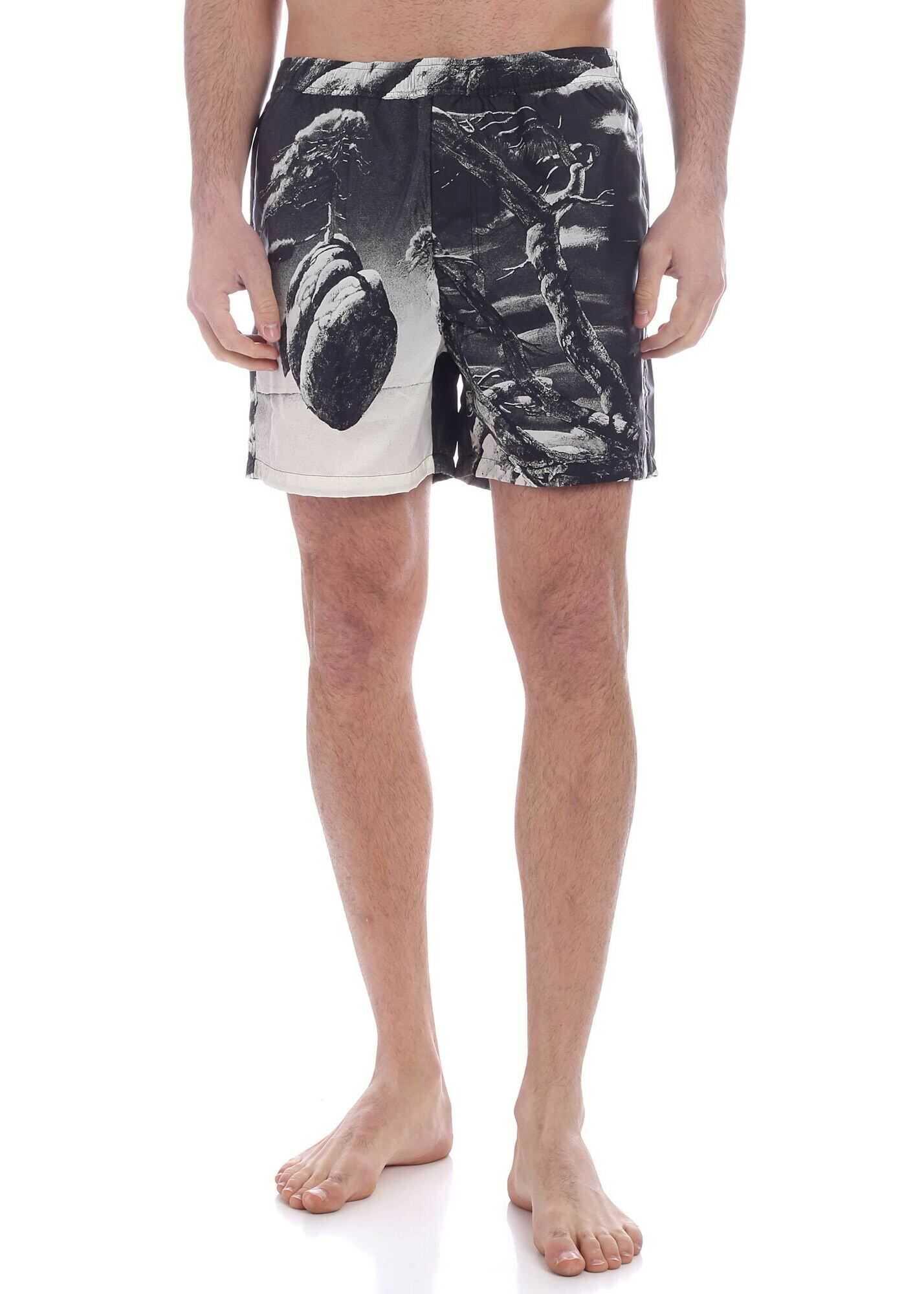 Valentino Garavani Floating Island Print Swim Trunks In Black Black imagine