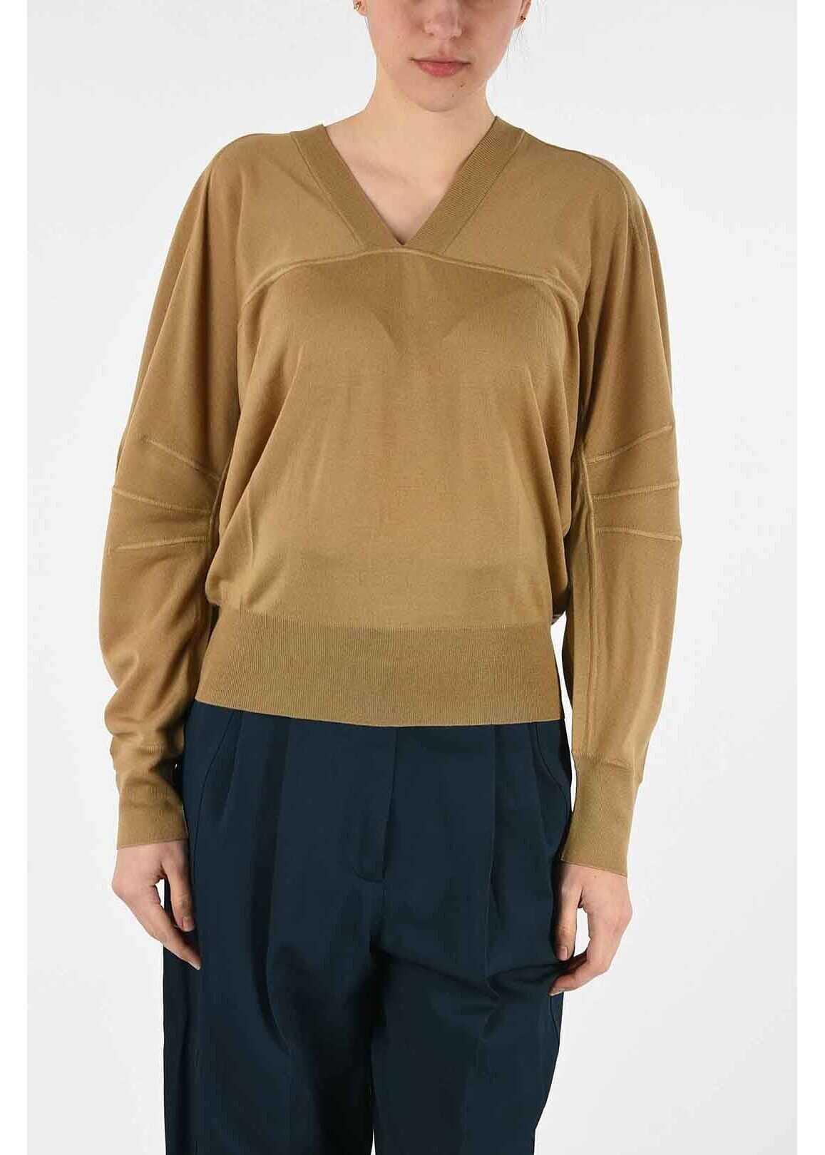 Bottega Veneta wool v-neck sweater BROWN