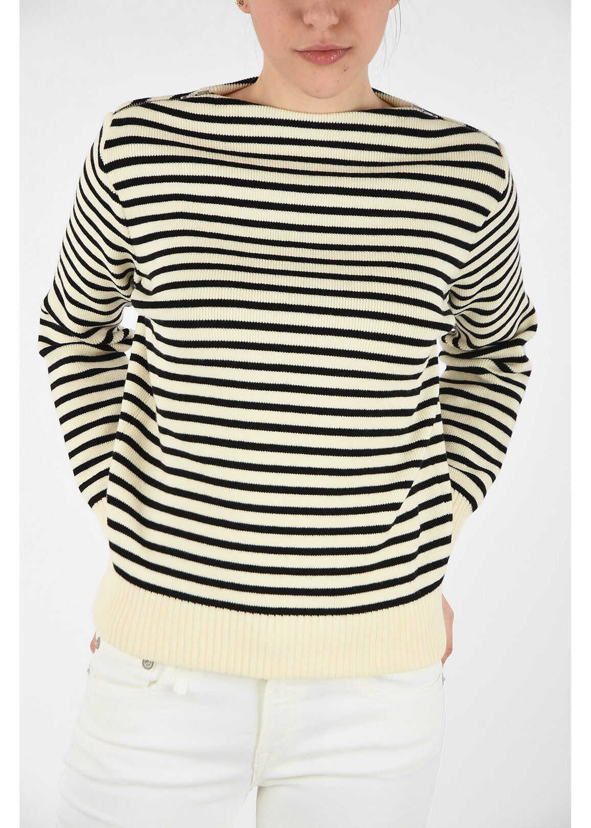 Céline wool striped sweater BLACK & WHITE