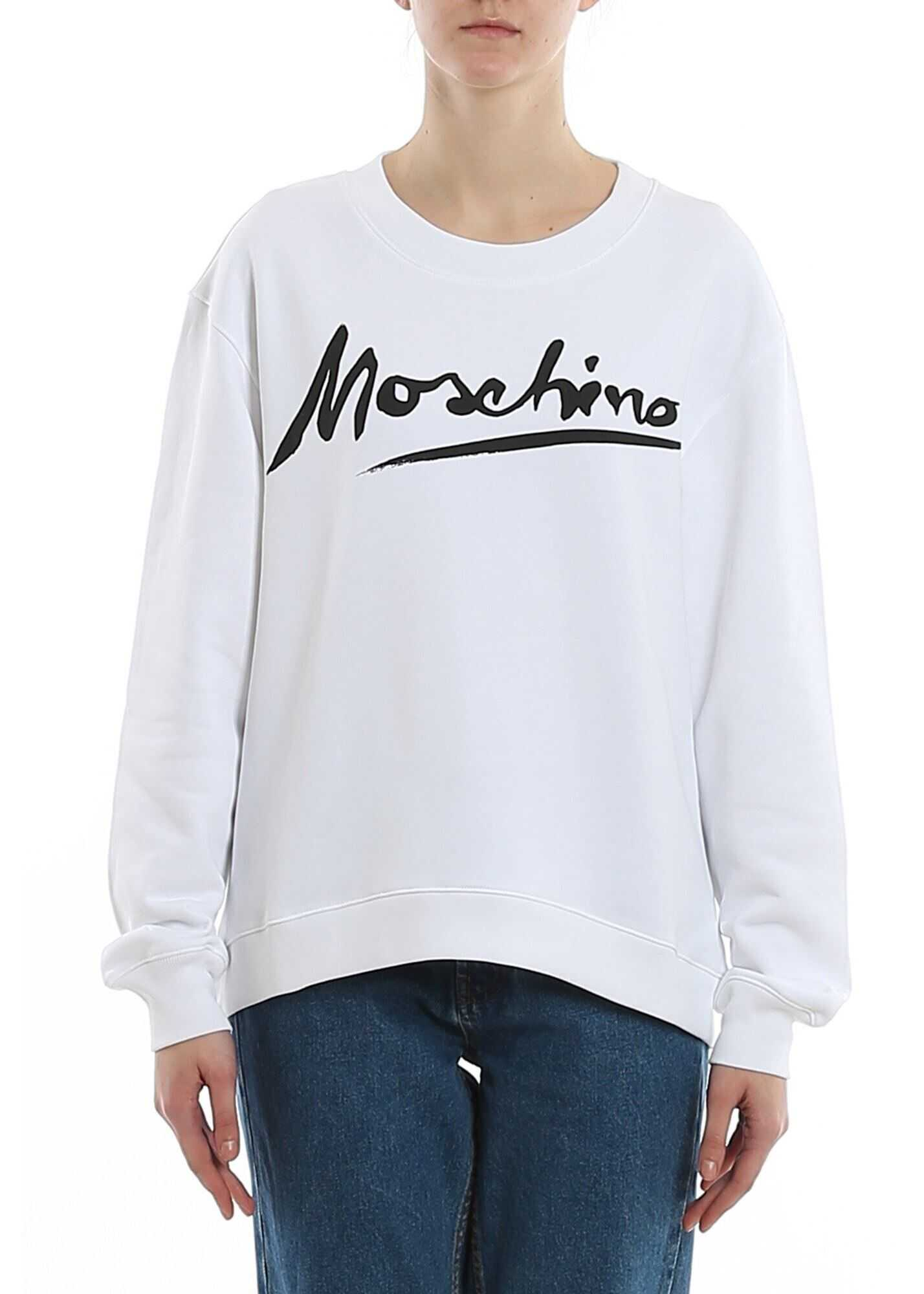 Moschino Logo Print Cotton Sweatshirt In White White