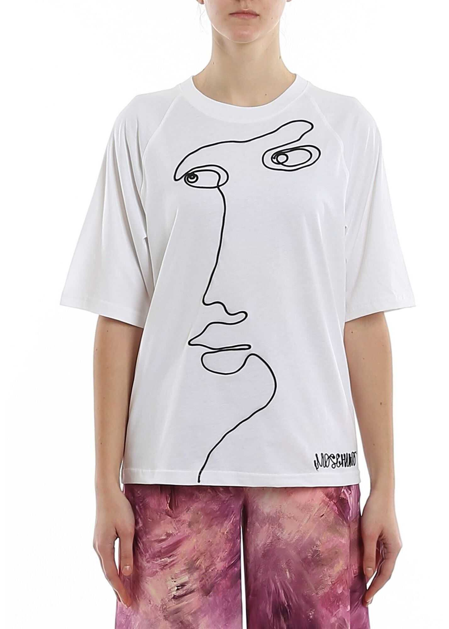 Moschino Cornely Embroidery T-Shirt In White White