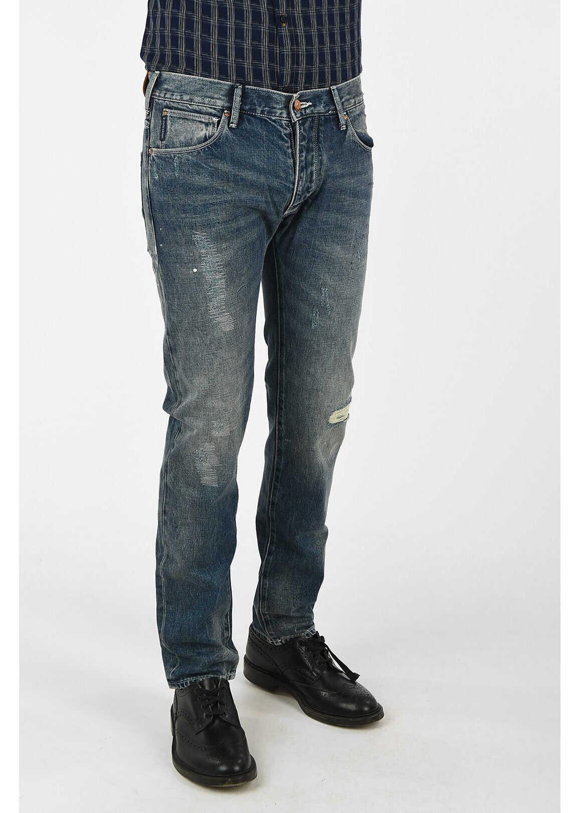 Armani ARMANI JEANS 18cm Distressed Jeans L 34 BLUE