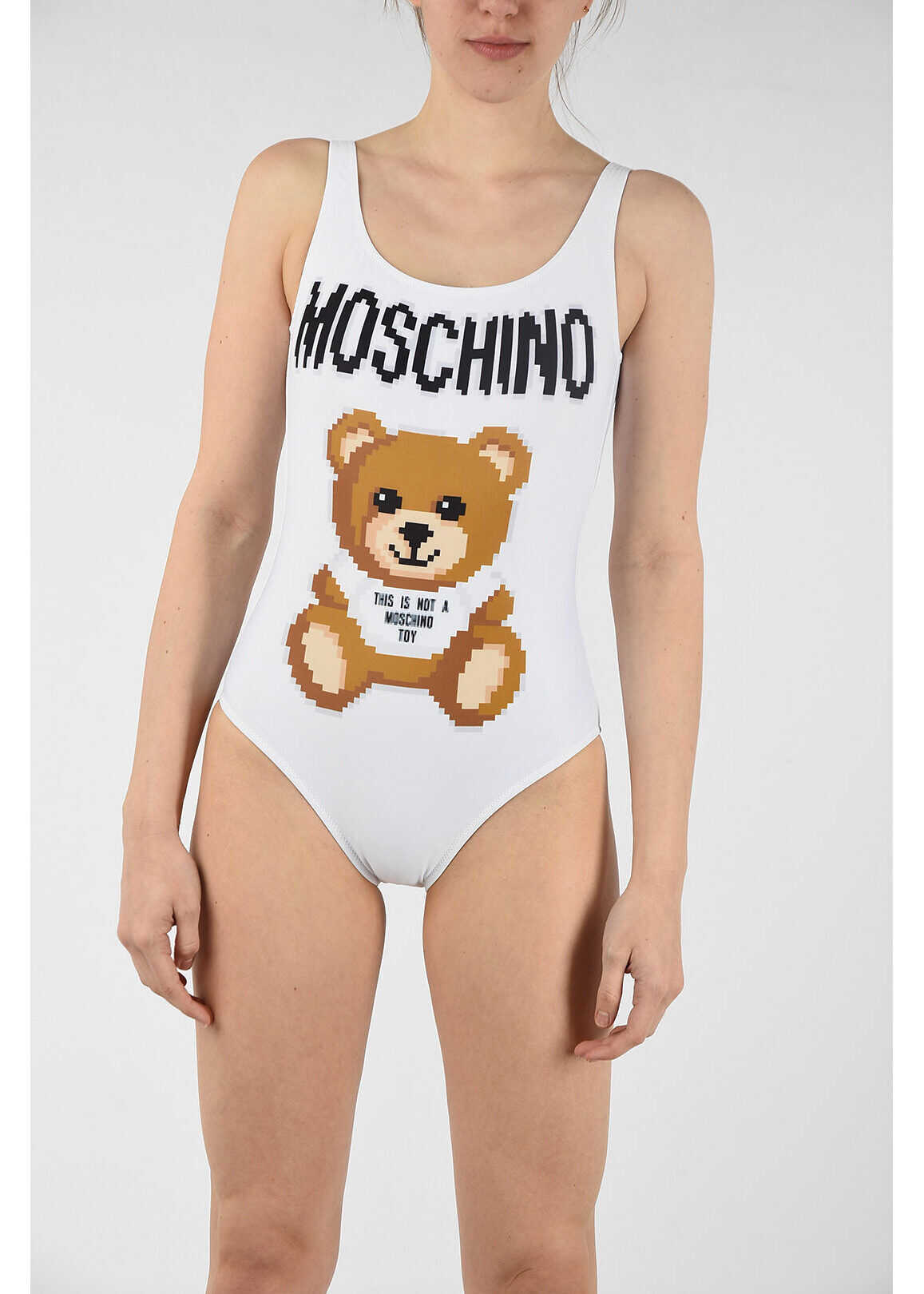 Moschino COUTURE! printed swimsuit WHITE