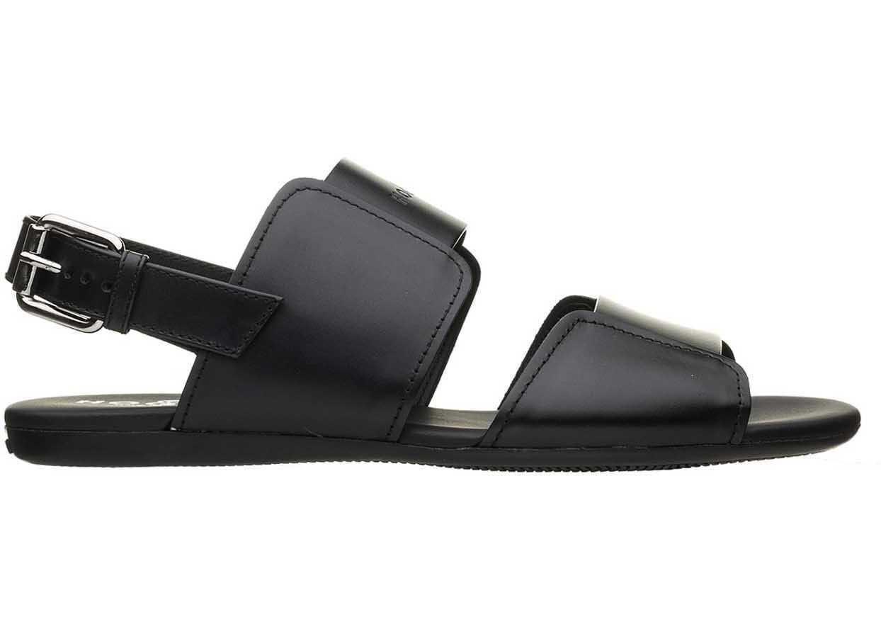 Hogan Logo Sandals In Black Black