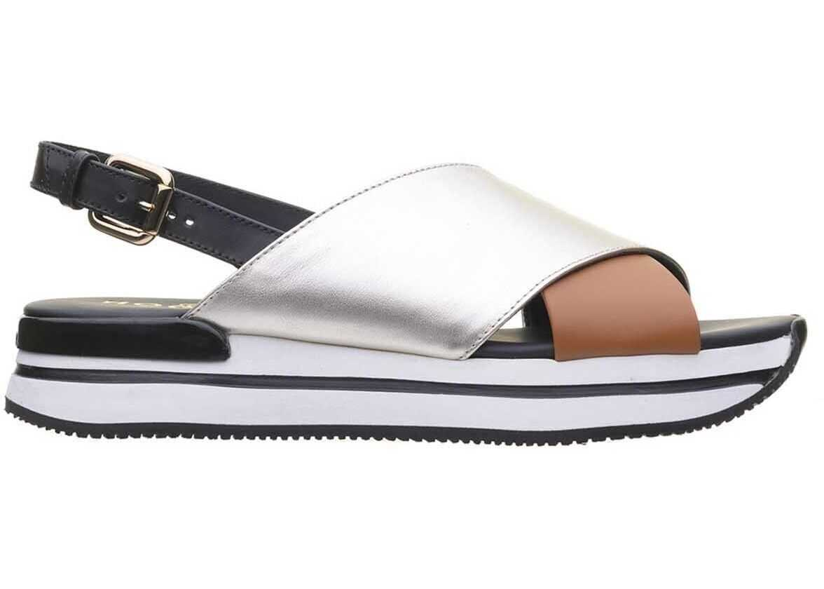 Hogan H222 Sandals In Black And Gold Multi