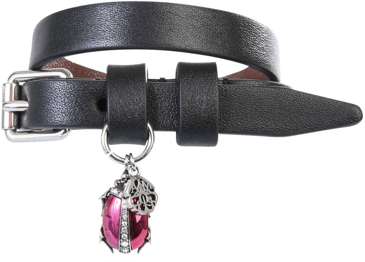 Alexander McQueen Leather Bracelet BLACK