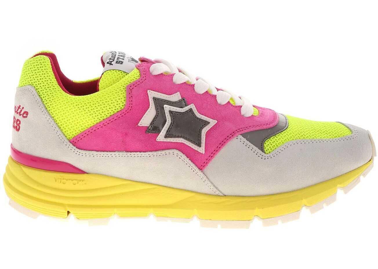 Atlantic Stars Agena Sneakers In Ecru And Fluo Fuchsia