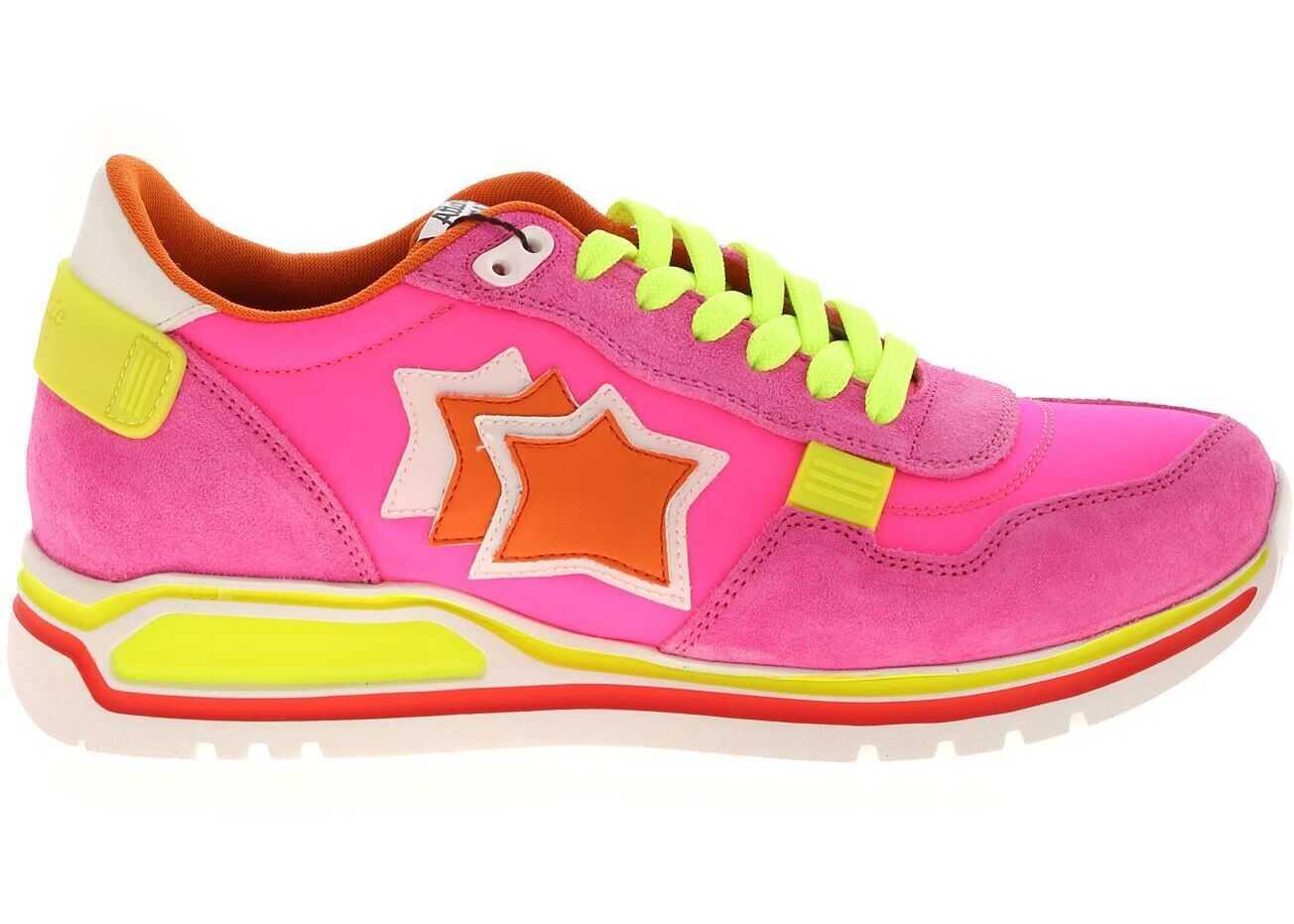 Atlantic Stars Shaka Sneakers In Fuchsia And Neon Yellow Fuchsia